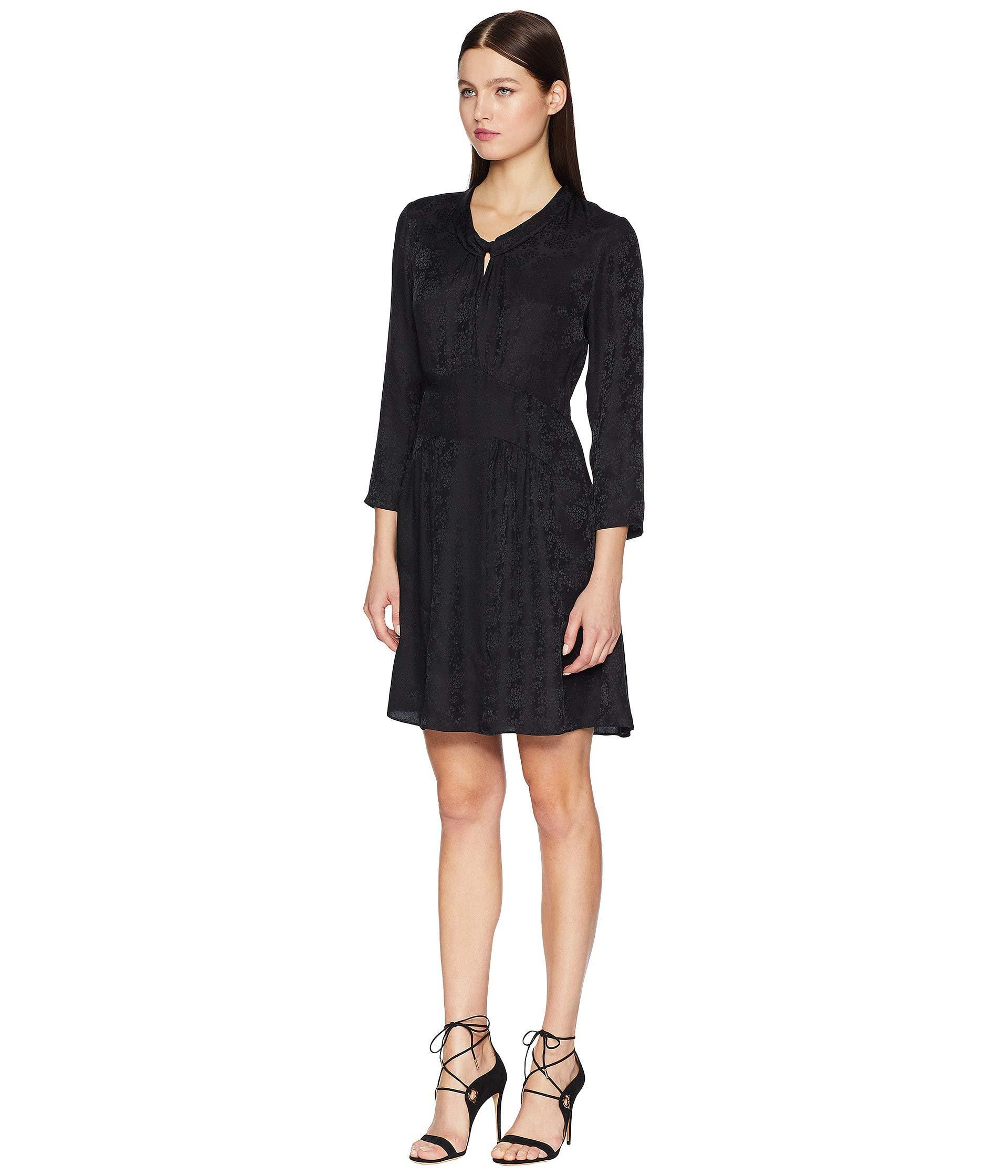 7fabcfbbe885 Lyst - Rebecca Taylor Long Sleeve Jacquard Silk Dress (black) Women's Dress  in Black