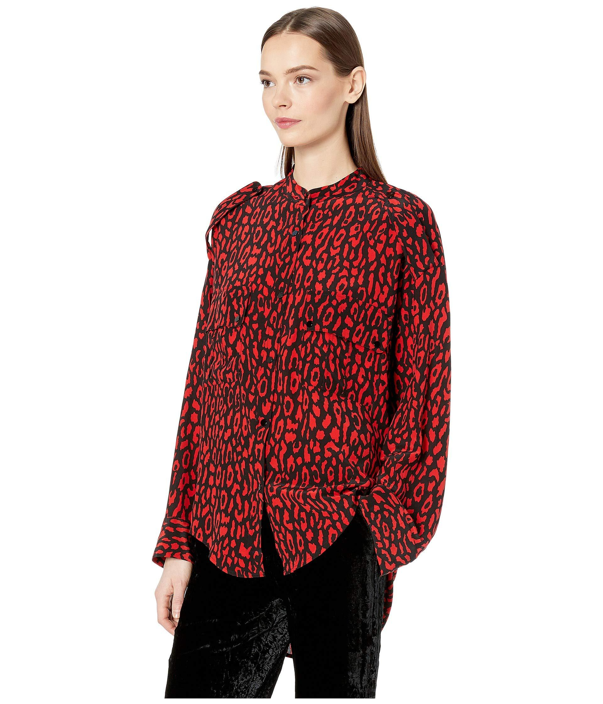 2eeda1e9218e52 Lyst - The Kooples Leopard Print Top (black red) Women s Blouse in Red