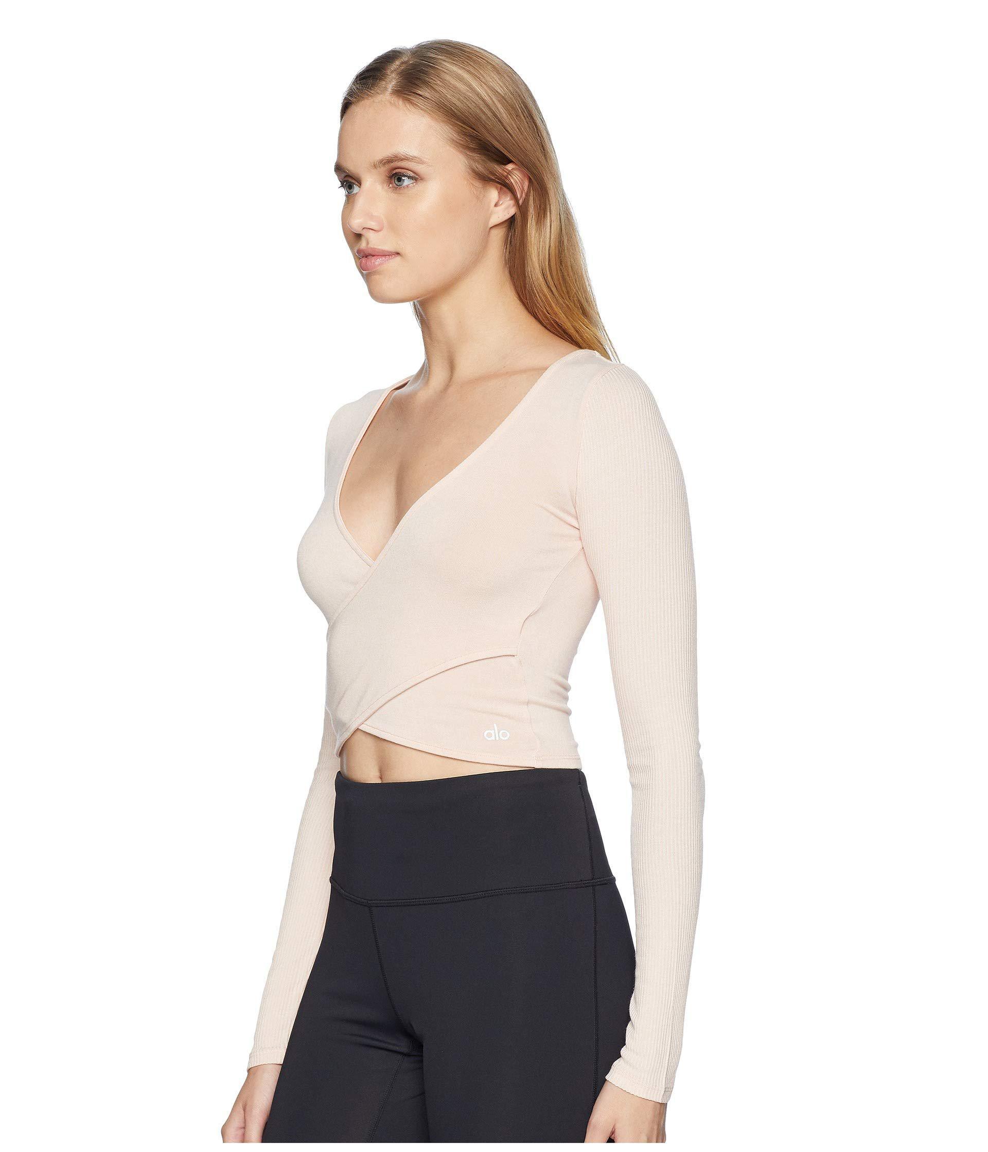 4785d0995b36c Lyst - Alo Yoga Amelia Long Sleeve Crop Top (black) Women s Clothing
