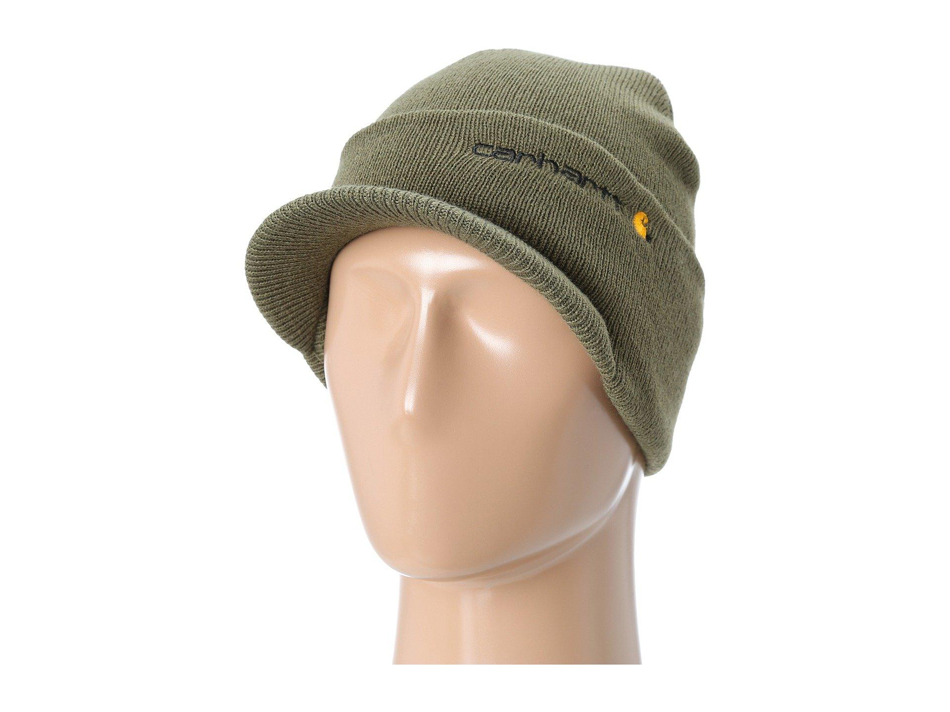 ee5a0c5e50ffea Carhartt Knit Hat With Visor (coal Heather) Caps in Green for Men - Lyst