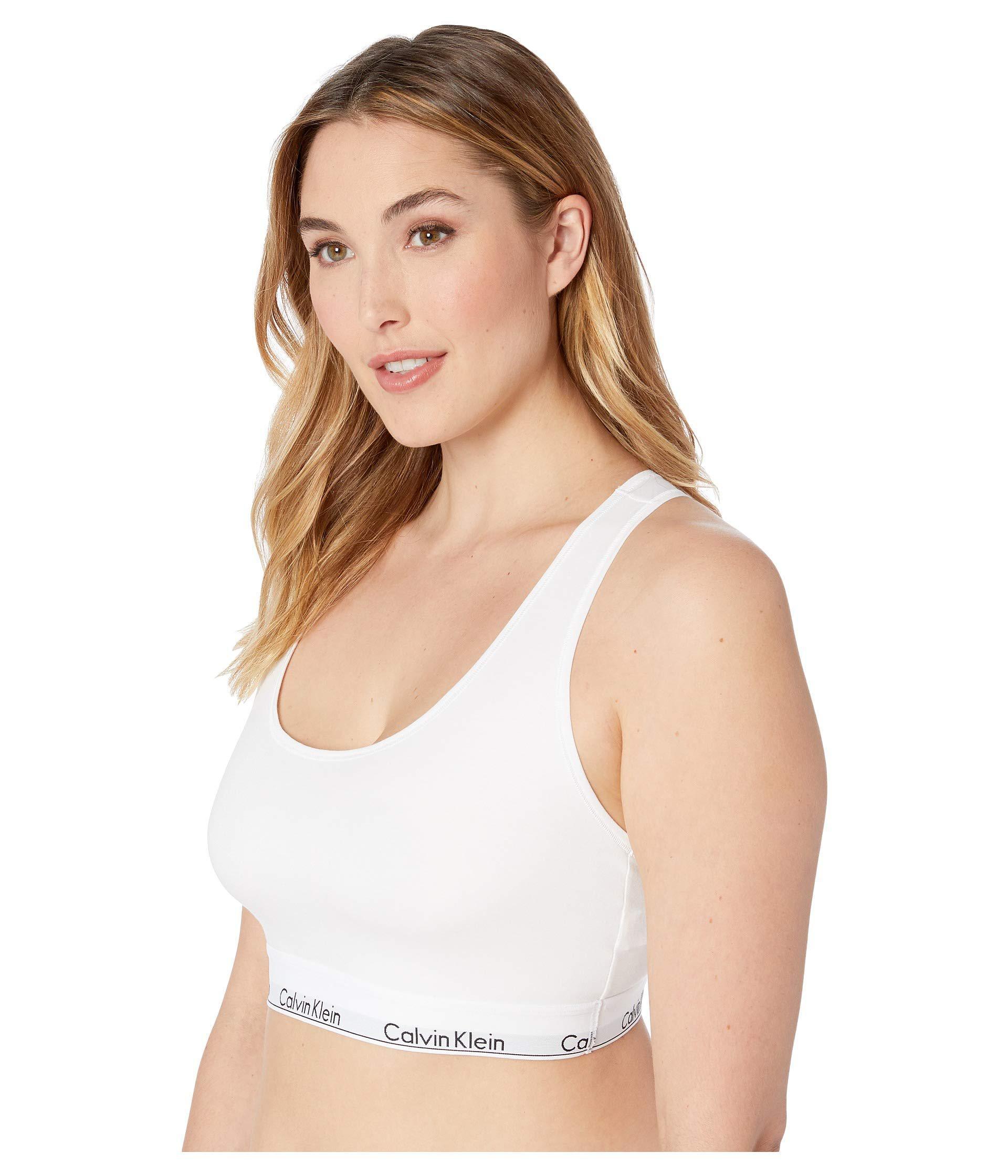 2902cd8760437e Lyst - Calvin Klein Plus Size Modern Cotton Unlined Bralette (grey Heather) Women s  Bra in White