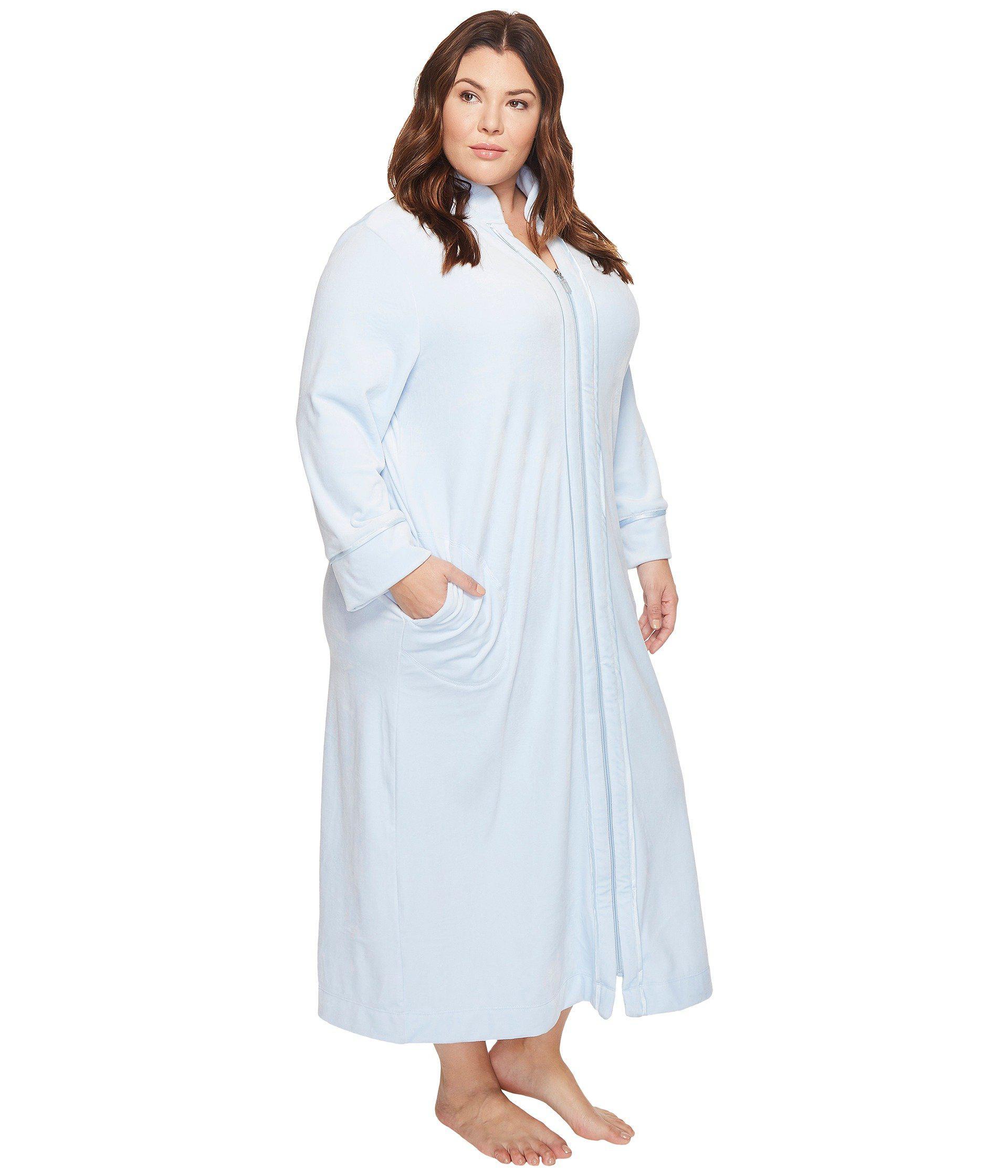Lyst - Carole Hochman Plus Size Velvet Long Zip Robe in Blue