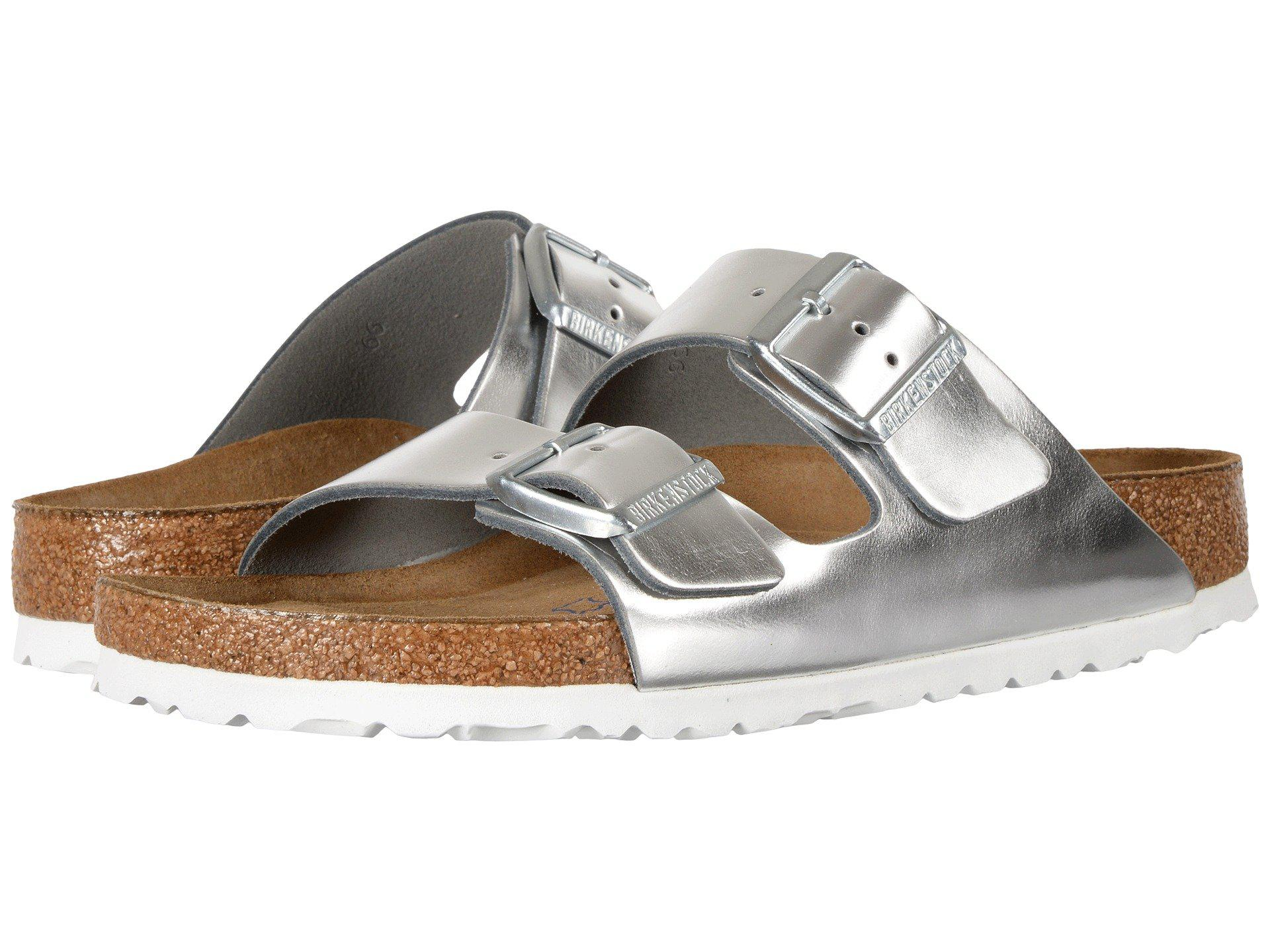726049733 Birkenstock. Arizona Soft Footbed (metallic Silver Leather) Women s Shoes