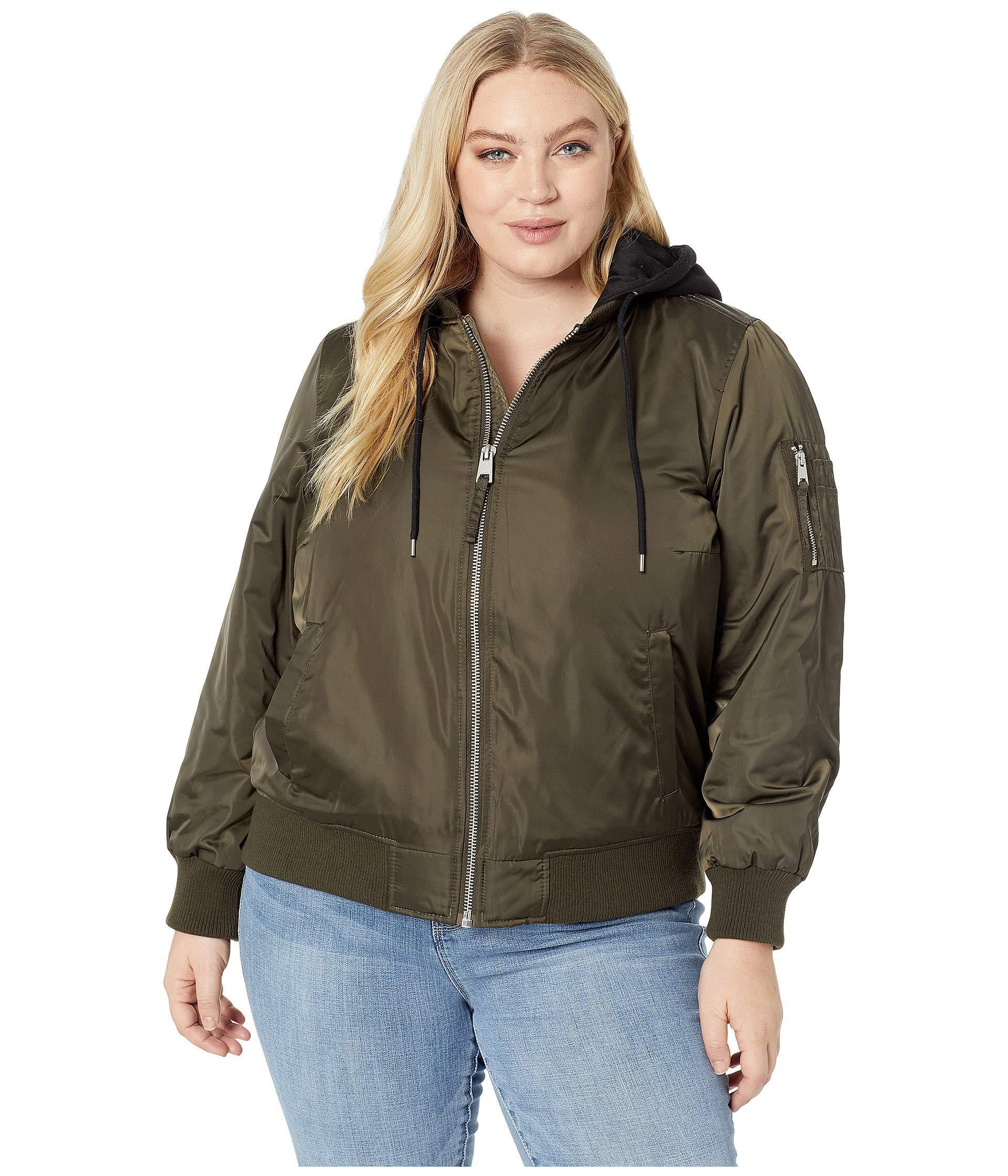 82ab36b092 Levi s. Levi s(r) Plus Size Poly Satin Bomber W  Fleece Hood (army Green)  Women s Coat