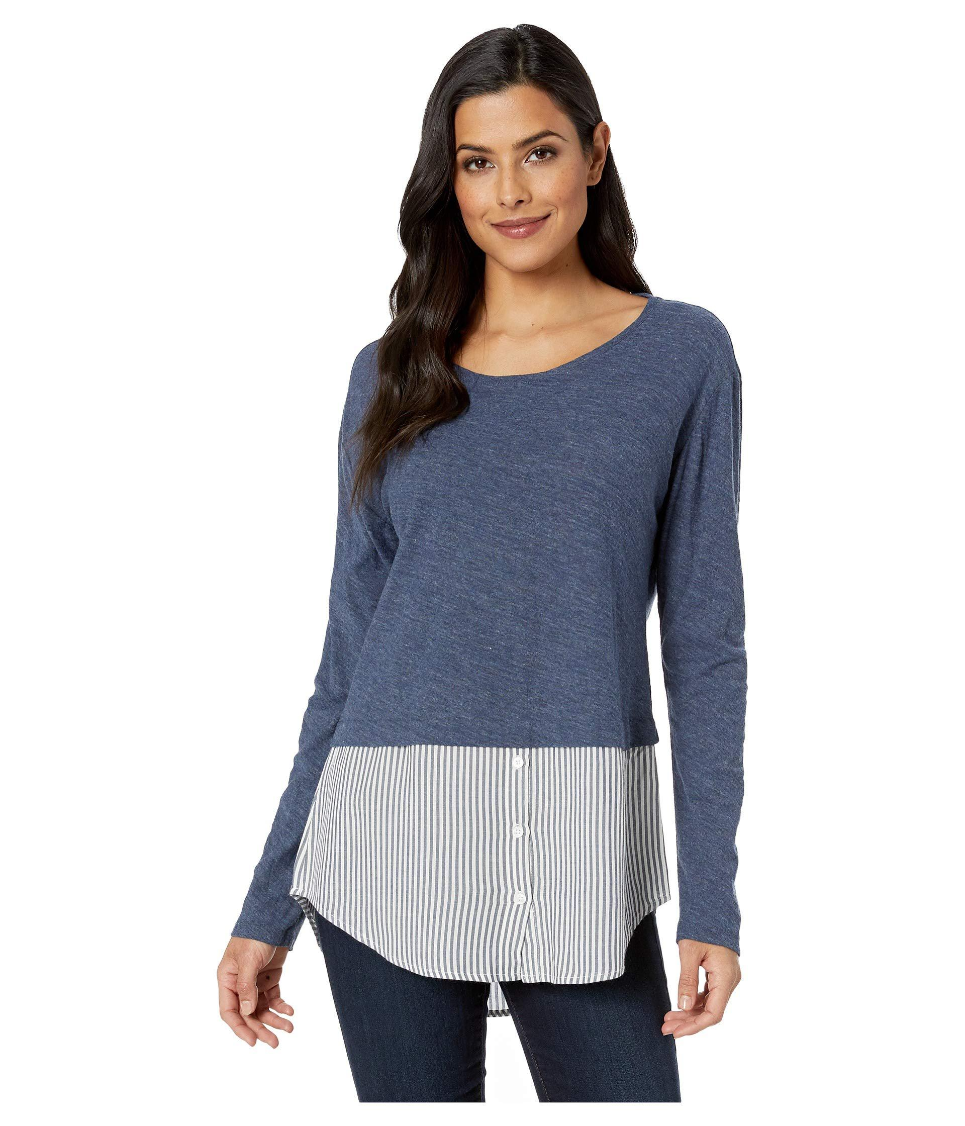 c6317a490a3f5 Lyst - Two By Vince Camuto Long Sleeve Classic Stripe Hem Mix Media ...