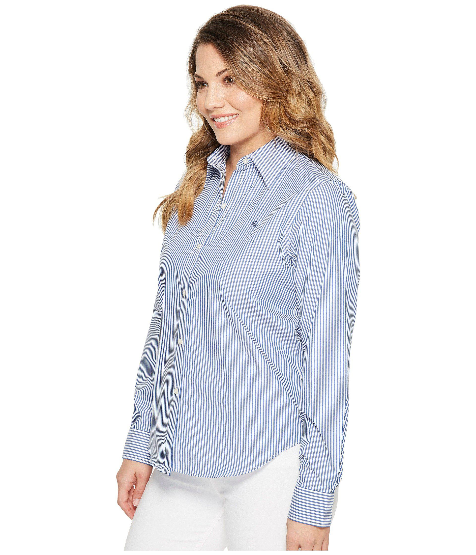 d6490d2e4fe Lyst - Lauren by Ralph Lauren Petite Striped Cotton Shirt (blue white)  Women s Clothing in Blue