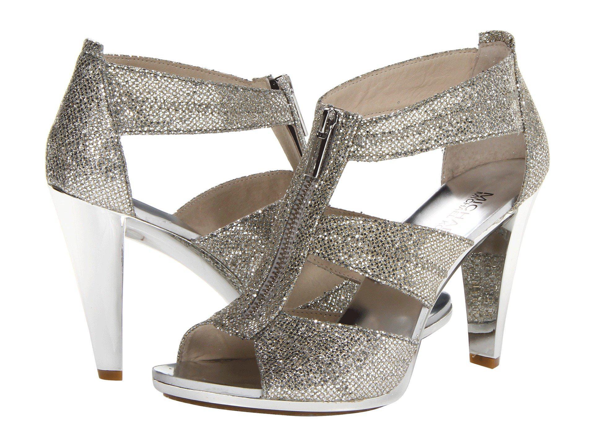89fefa17623e MICHAEL Michael Kors. Women s Metallic Berkley T-strap (silver Glitter) ...