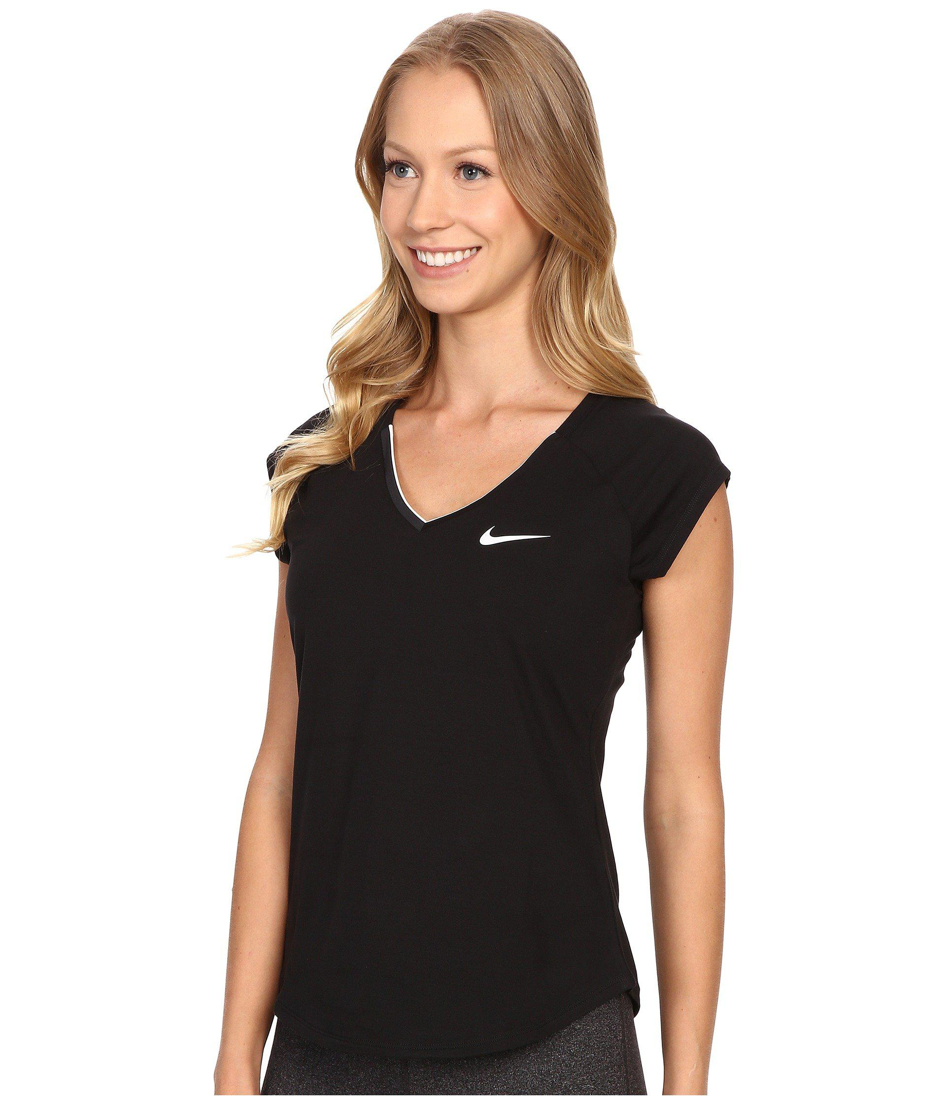 7218cd3dcdaf Nike - Court Pure Tennis Top (black white) Women s Short Sleeve Pullover -.  View fullscreen
