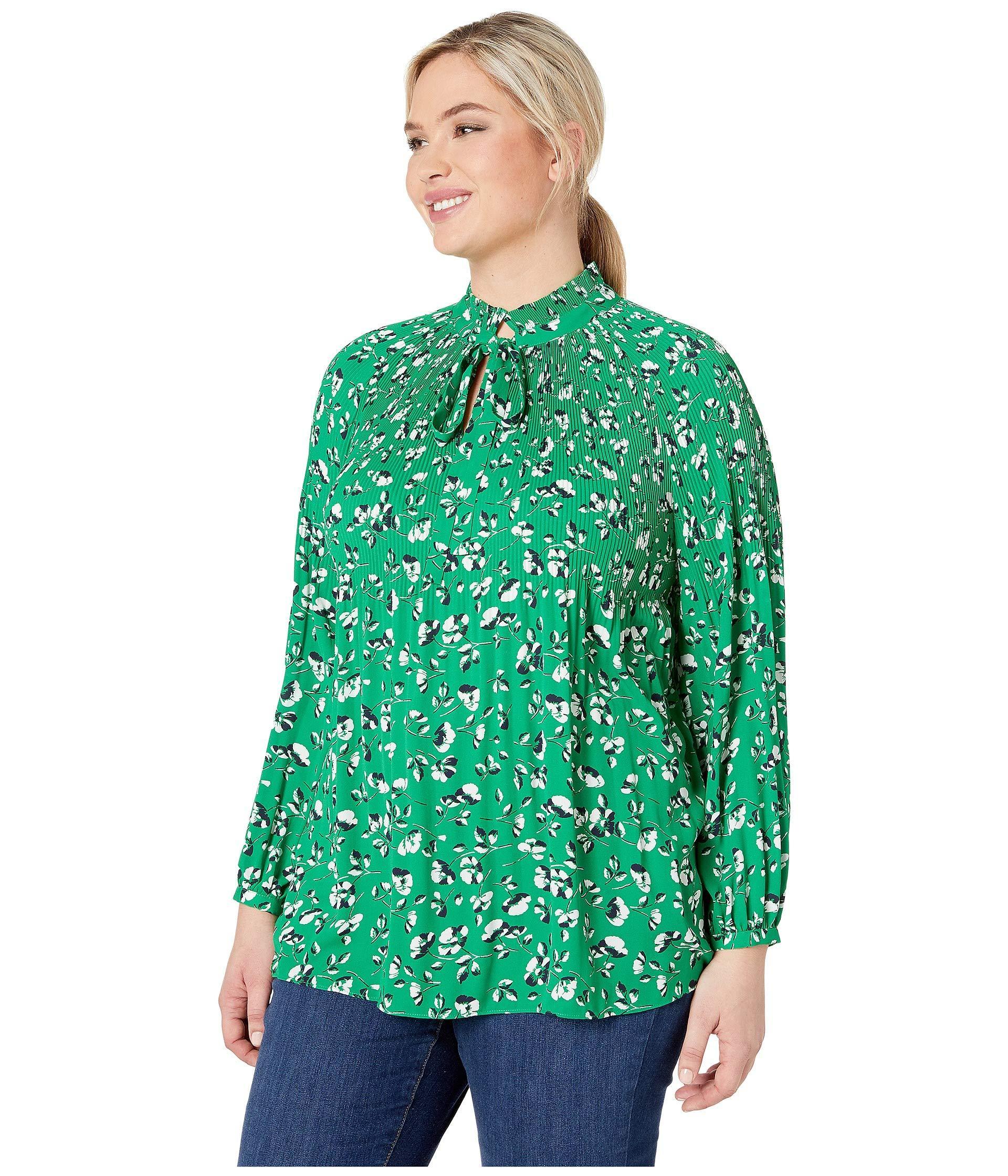037d240e72c32 Lyst - Lauren by Ralph Lauren Plus Size Georgette Tie Neck Top (cambridge  Green Multi) Women s Clothing in Green