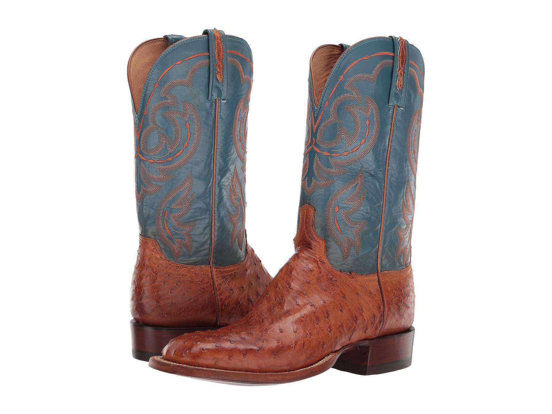 bff1118883b Lyst - Lucchese Harris (antique Brandy Full Quill Ostrich) Men's ...