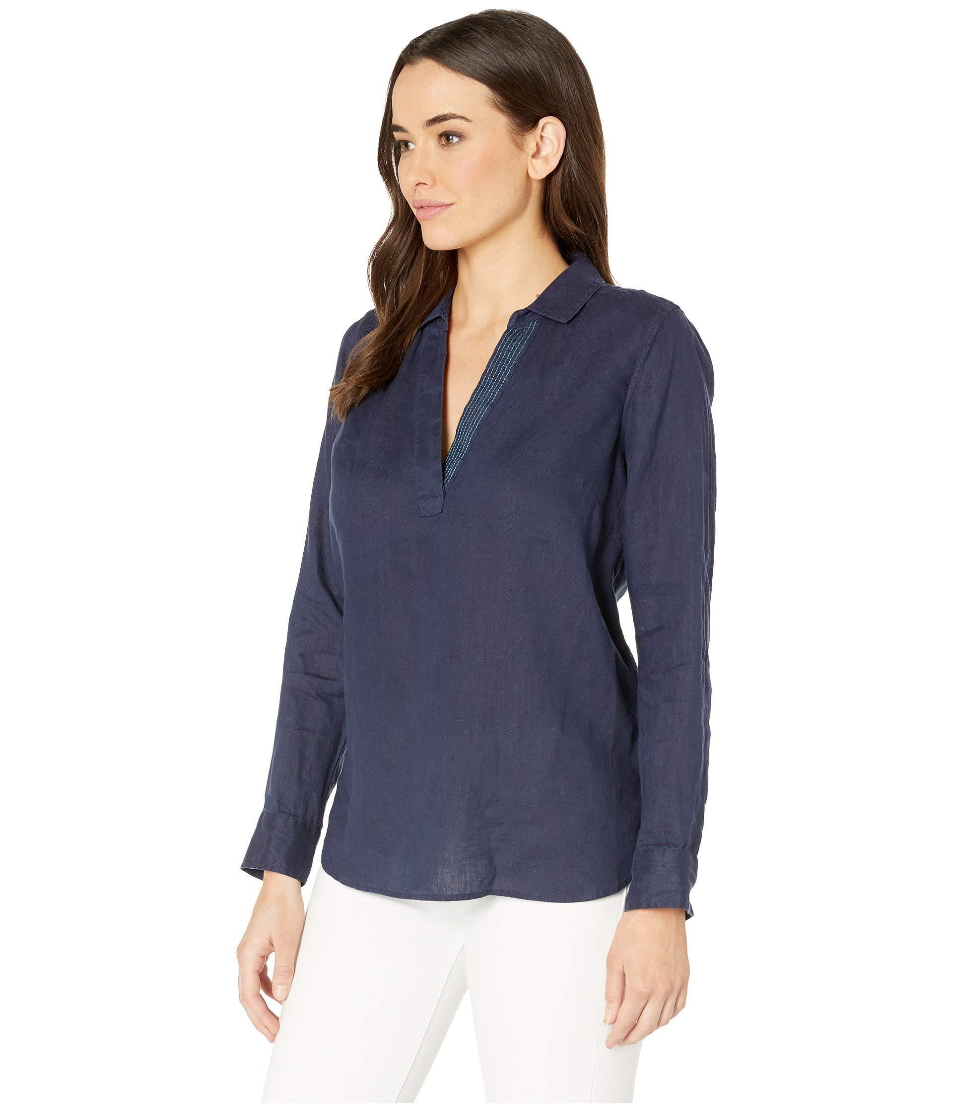 963c70eb8740b Lyst - NYDJ Linen Popover Tunic (optic White) Women s Clothing in Blue