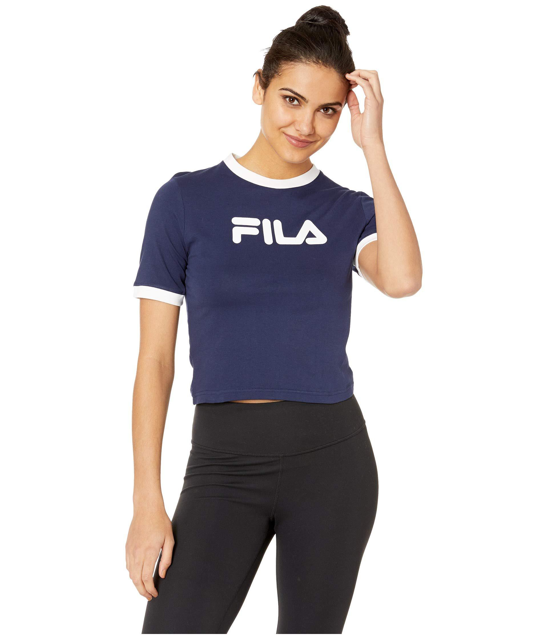 a666fb50ff3 Fila Tionne Crop Tee (black/white) Women's T Shirt - Lyst