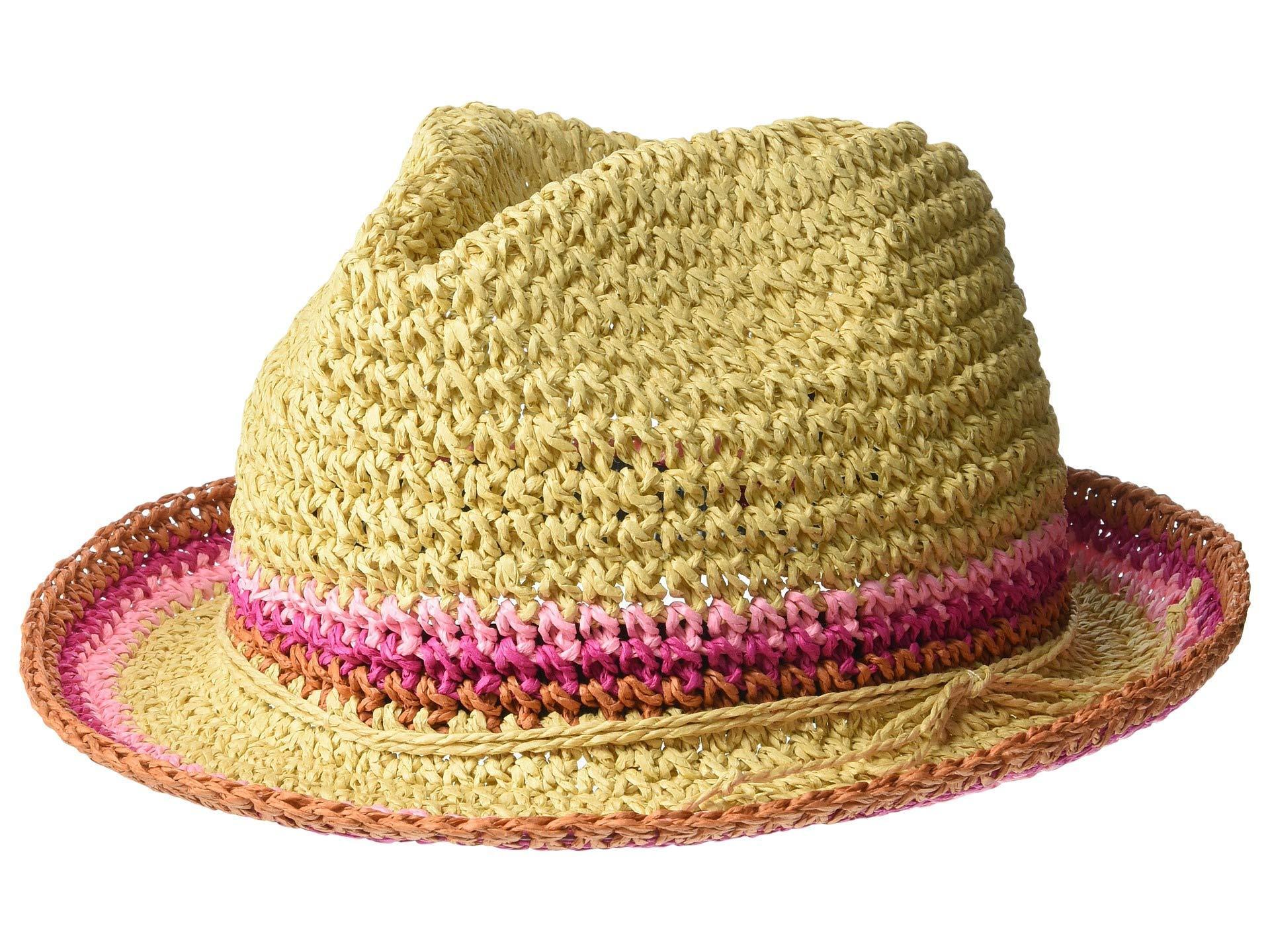821a735857a4db Steve Madden. Women's Raffia Crochet Straw Striped Fedora (black) Fedora  Hats