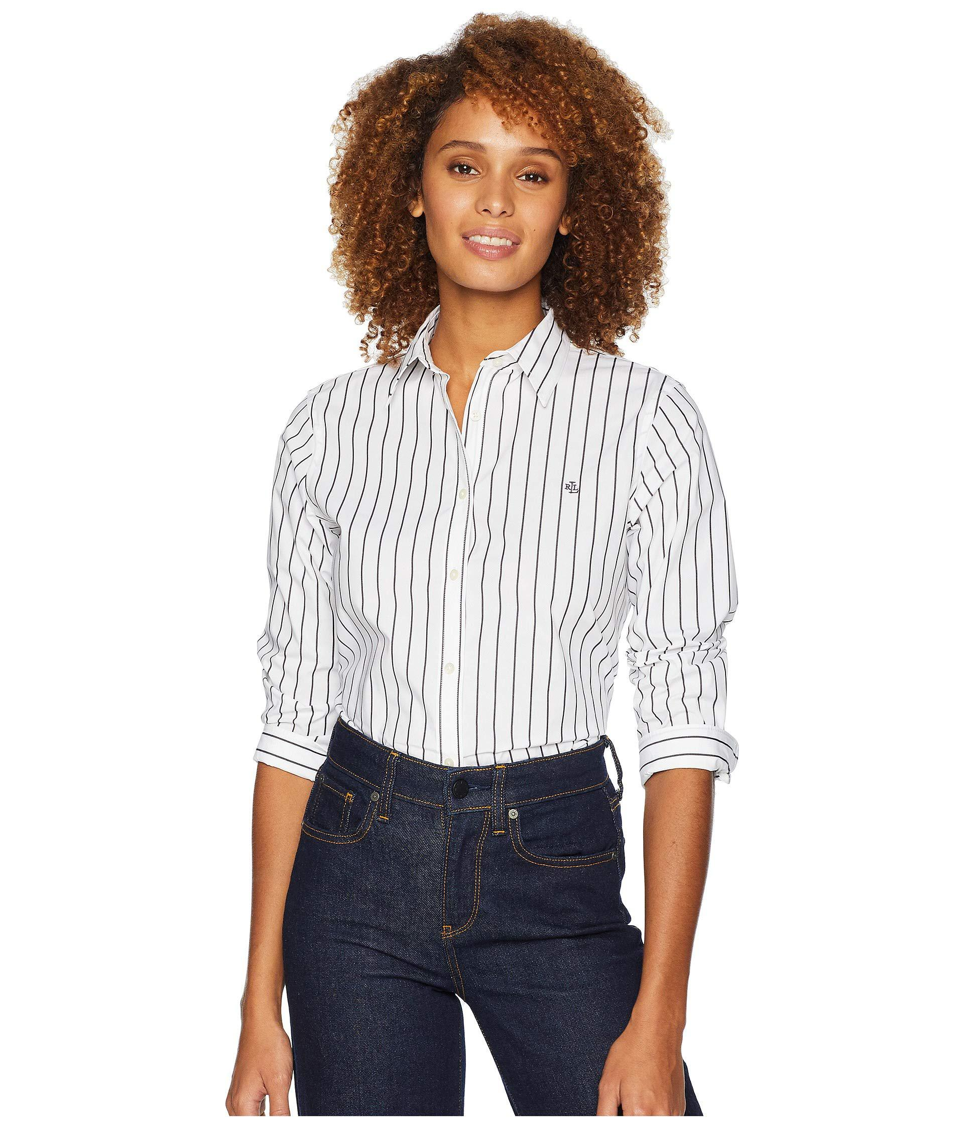Lyst Lauren By Ralph Lauren No Iron Button Down Shirt Whiteblack