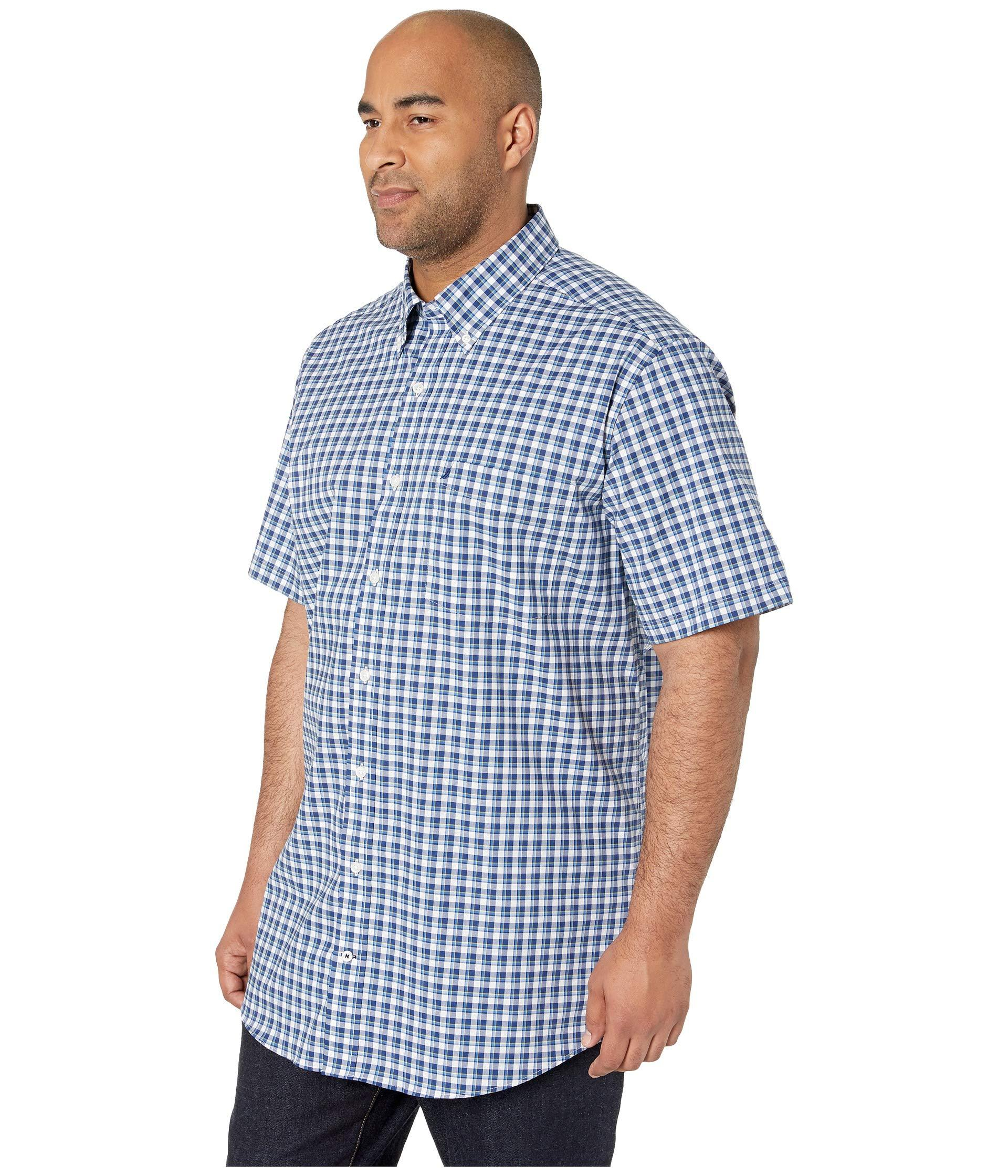 234cf32d8ee7bd Lyst - Nautica Big Tall Short Sleeve Plaid Woven (blue Depths) Men's  Clothing in Blue for Men