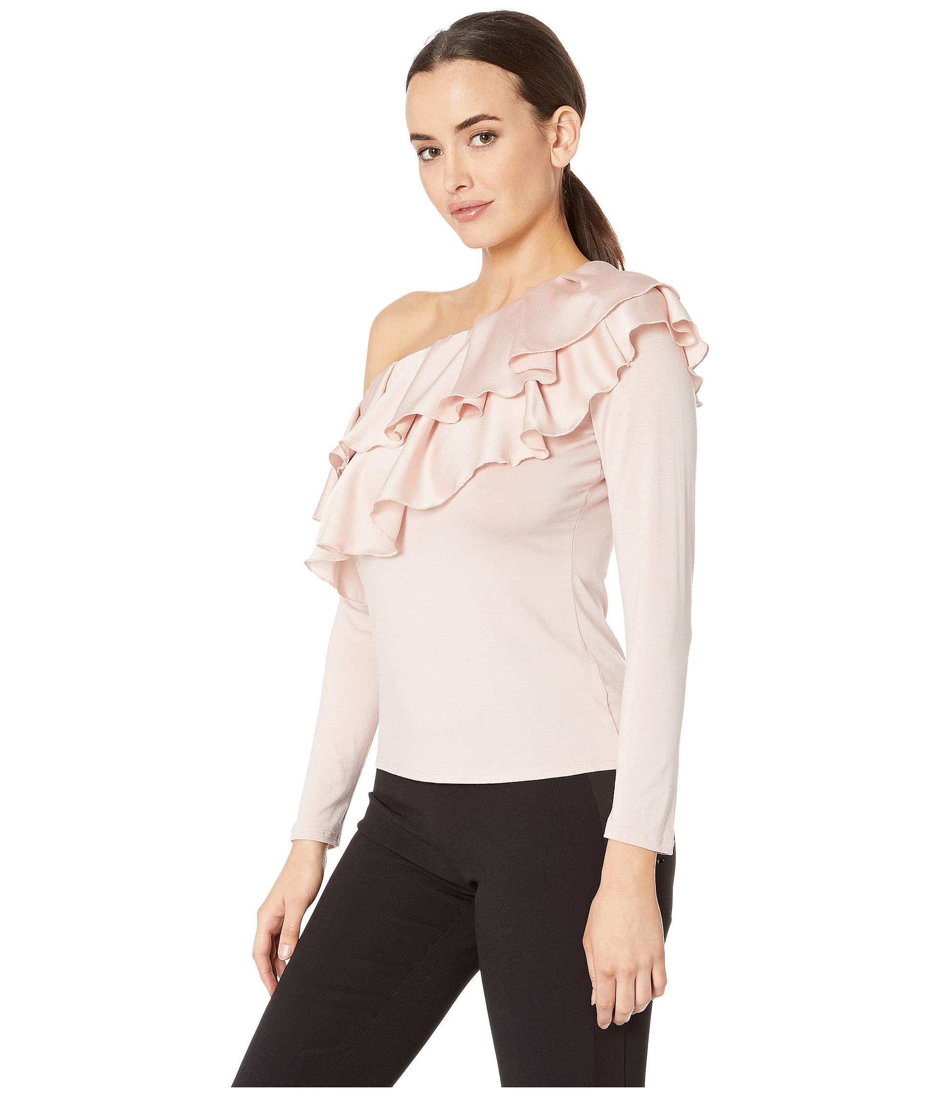 1d929b0b0f1 Lyst - Vince Camuto Long Sleeve Asymmetrical Tiered Ruffle Shoulder ...