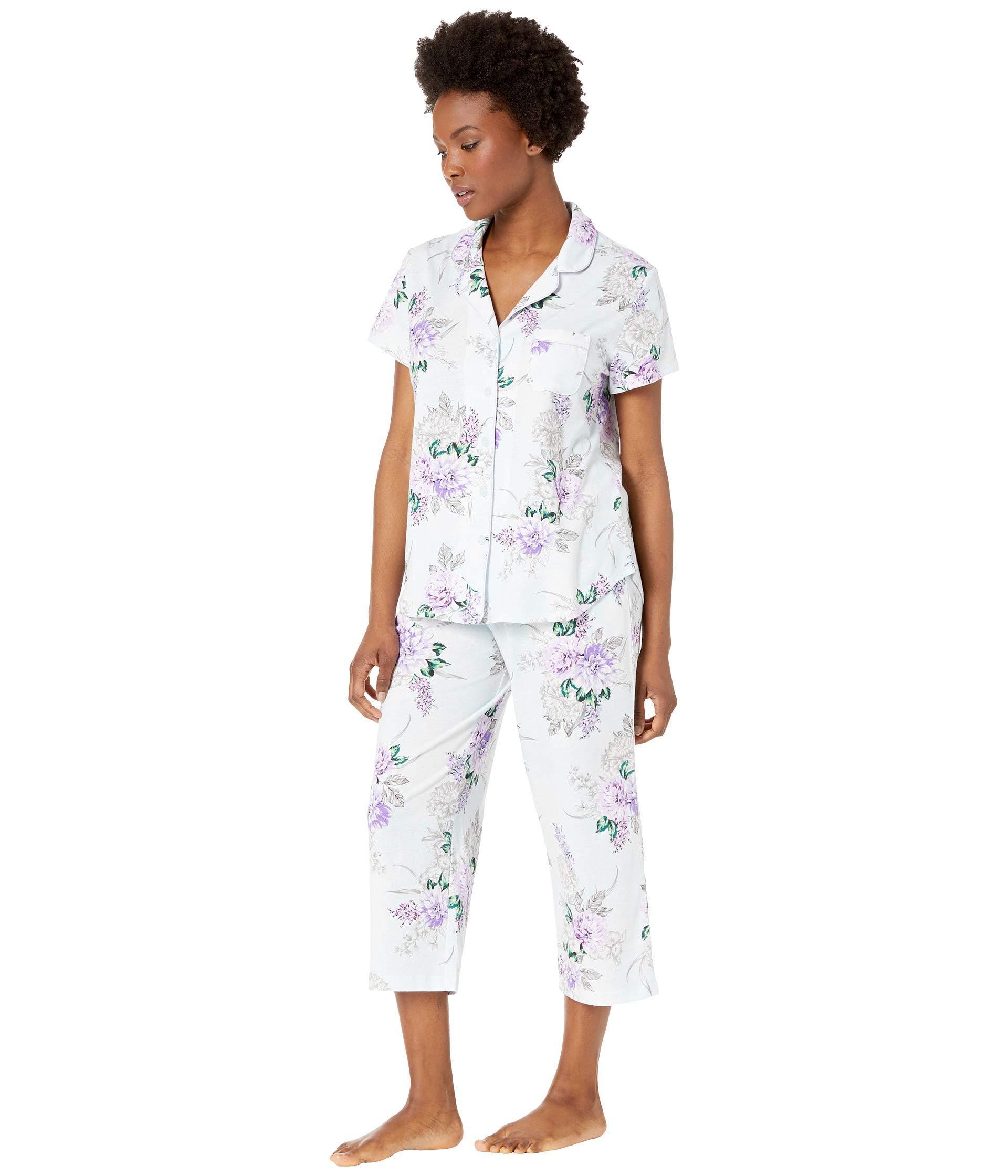 990aadc72e42 Lyst - Karen Neuburger Petite Seranade Short Sleeve Girlfriend Capris Pj  (floral ice Blue) Women s Pajama Sets in Blue