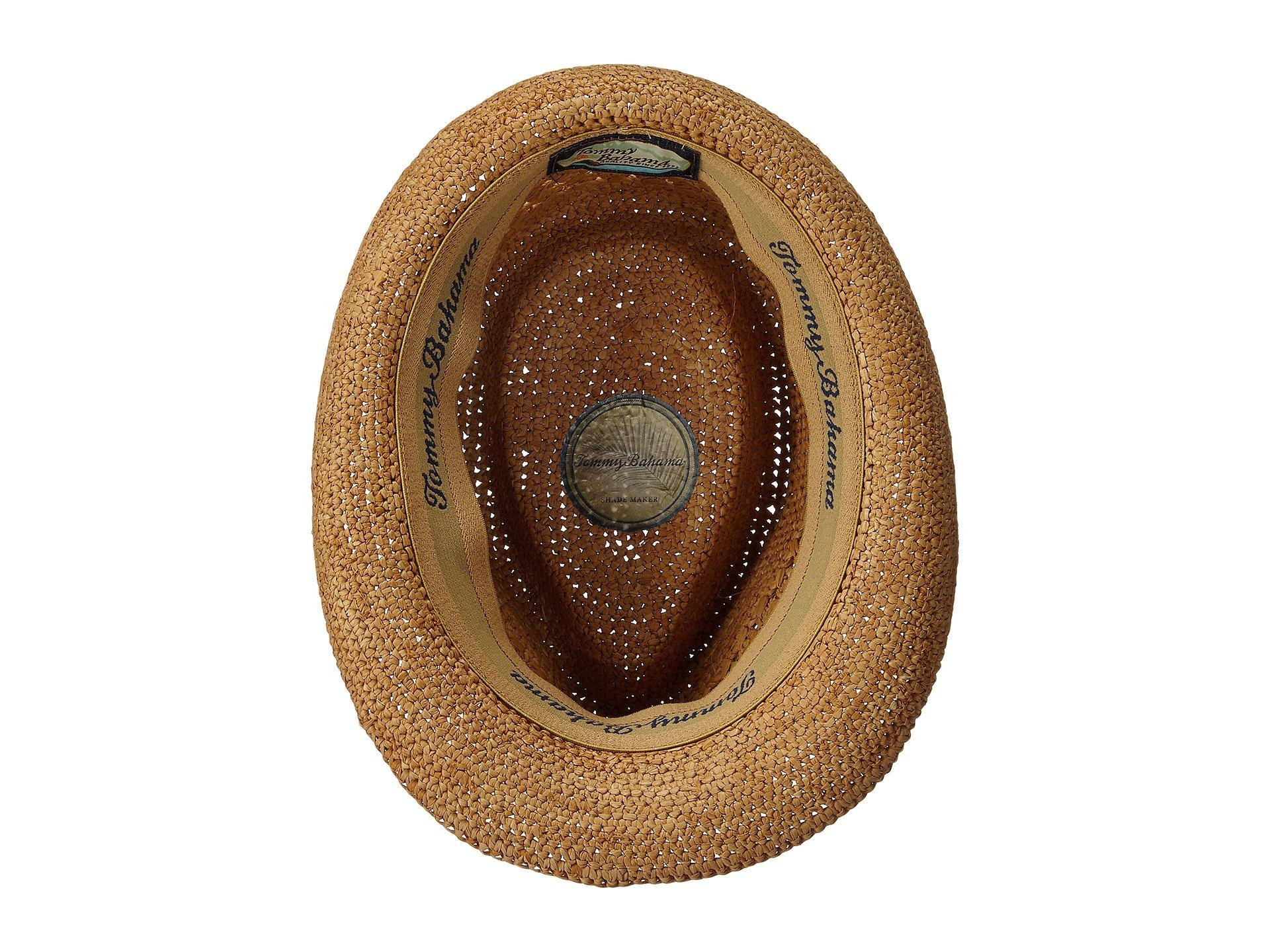 Tommy Bahama - Brown Vent Crochet Raffia Fedora (tea) Fedora Hats for Men  -. View fullscreen 783a63361af4