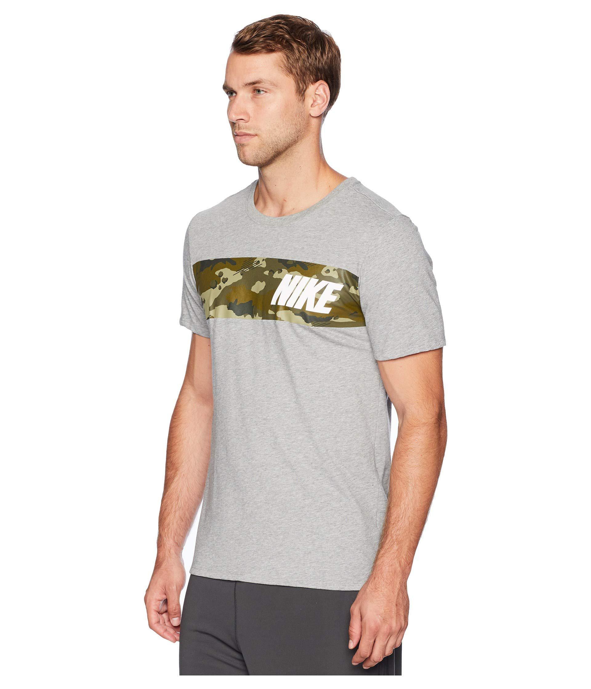 0e8a2290d Nike Dry Tee Dri-fit Cotton Block Camo (dark Grey Heather/neutral ...