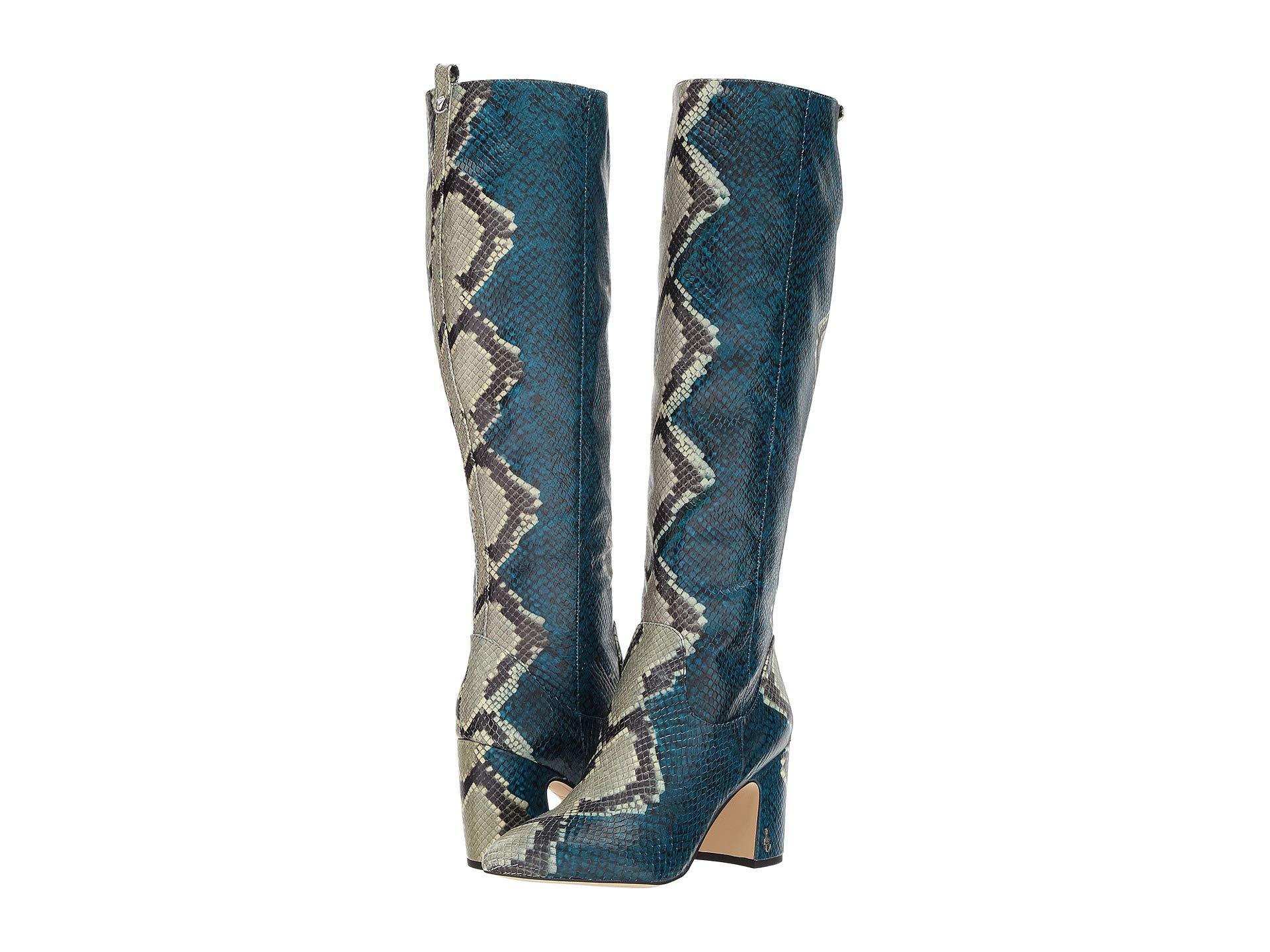 681ebc578723e1 Lyst - Sam Edelman Women s Hai Snakeskin Knee-high Boots - Peacock ...