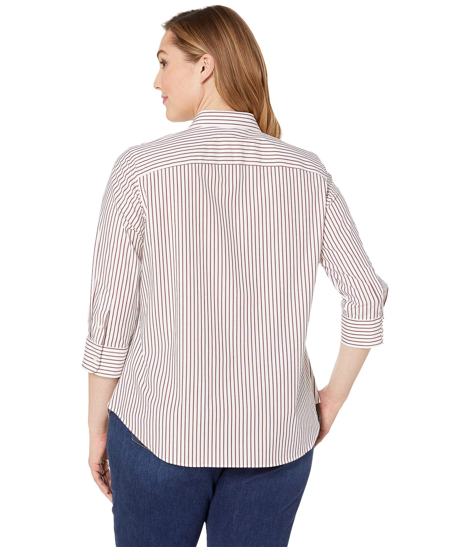 1b9d6b6e5 Lauren by Ralph Lauren Plus Size No-iron Striped Button Down Shirt ...