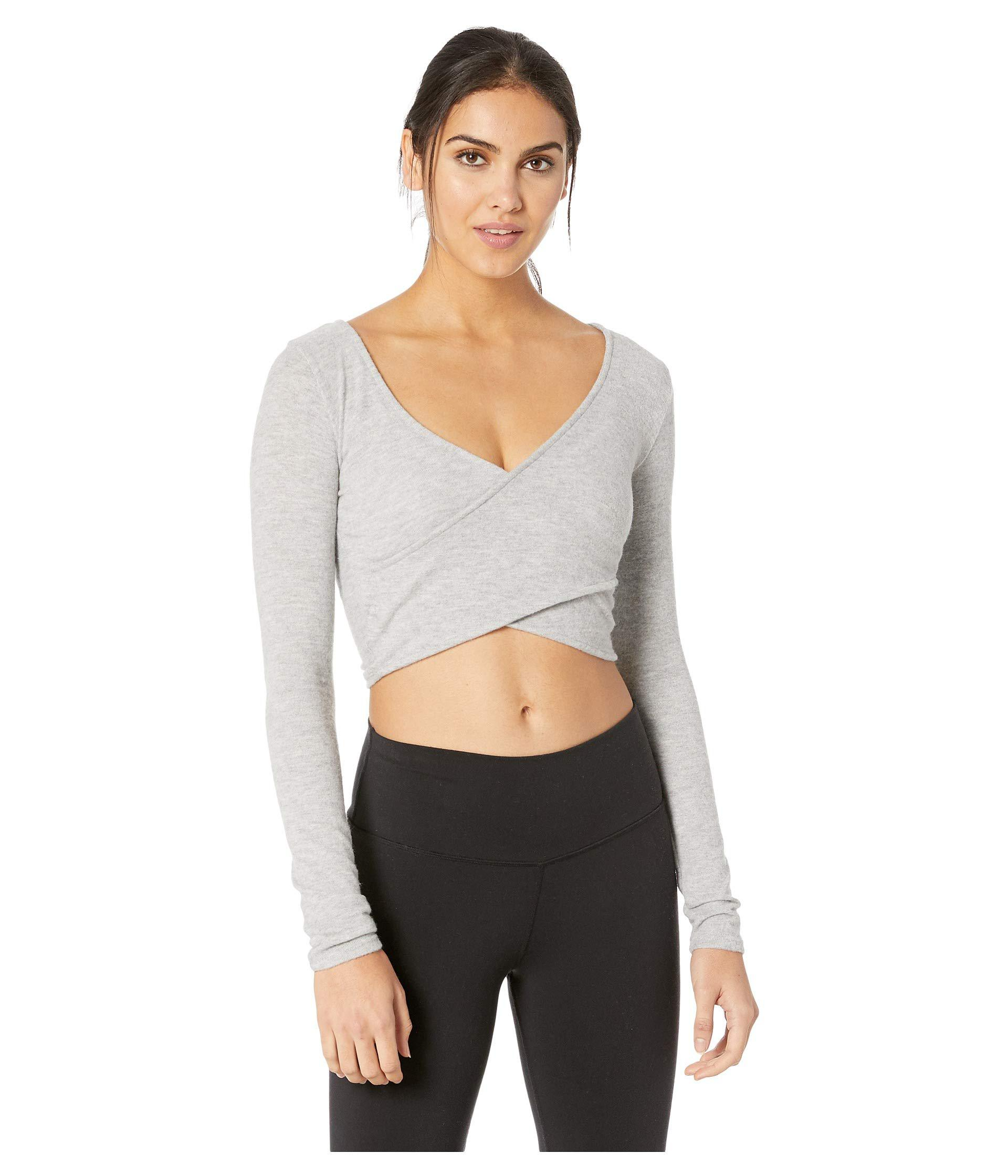 82c8d1228aa2a Alo Yoga. Gray Amelia Luxe Long Sleeve Crop (dove Grey Heather) Women s  Clothing