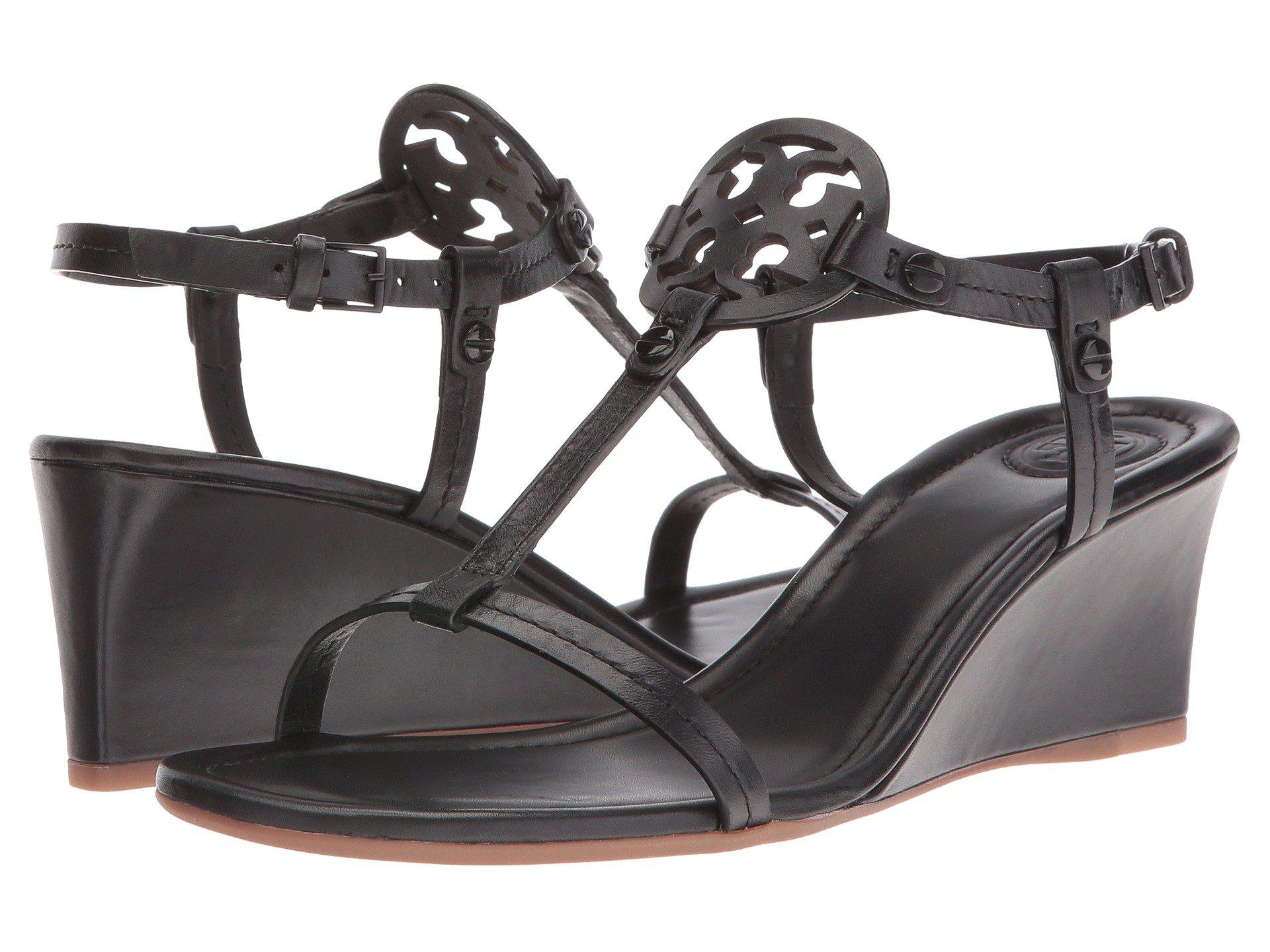 Lyst Tory Burch Miller Medallion Wedge Sandals In Black