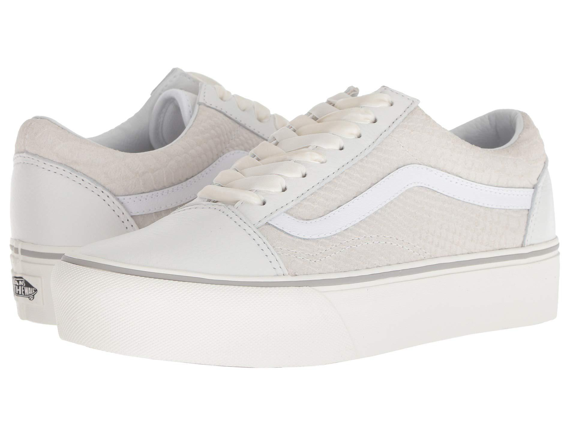 9c070d7e39d72c Lyst - Vans Old Skool Platform ((leather) Snake white) Skate Shoes ...