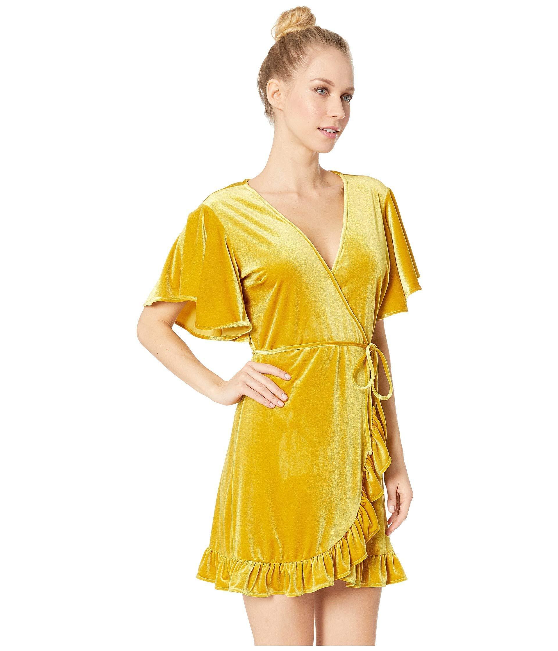 436189794c Jack BB Dakota - Yellow West Village Velvet Wrap Dress - Lyst. View  fullscreen