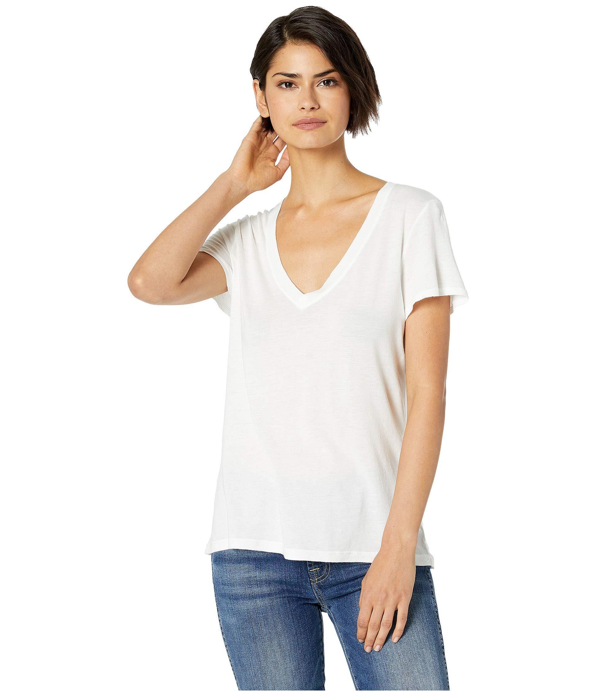 7e72db117 Lyst - Splendid Kate V-neck (black) Women's T Shirt in White