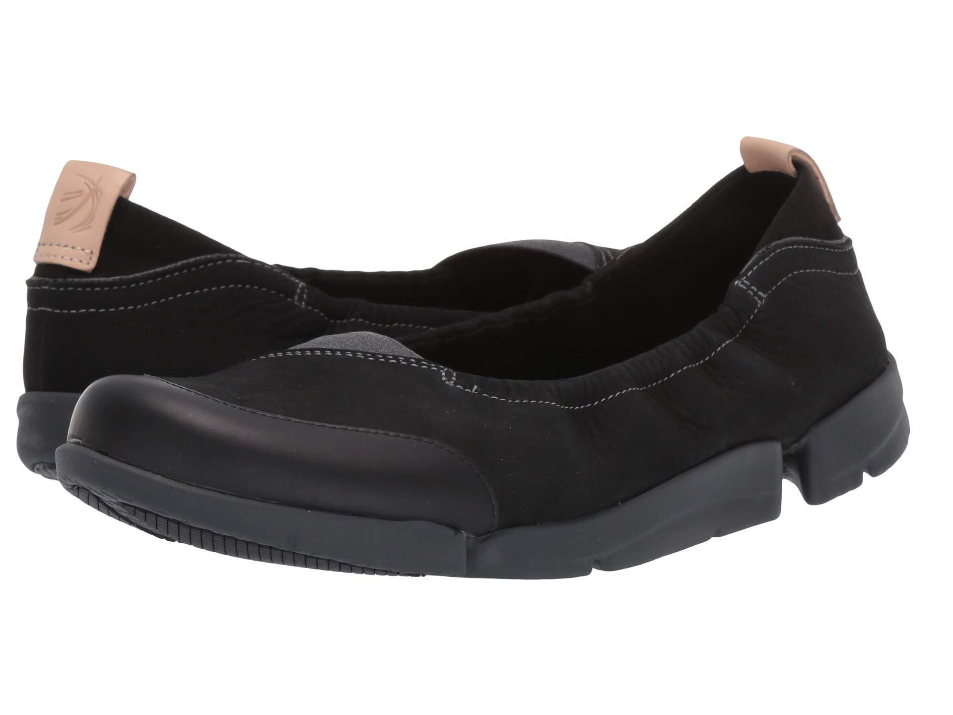 3a4c0ec063 Clarks Tri Adapt (white Leather) Women's Flat Shoes in Black - Lyst