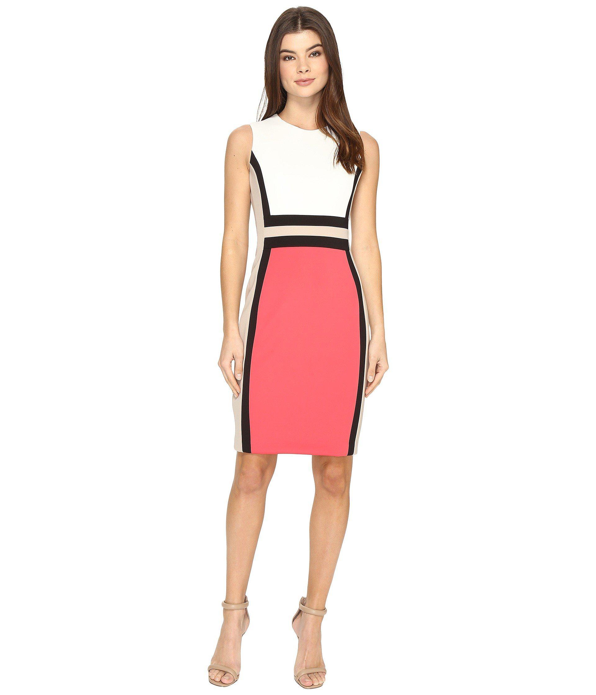 57111dff0531 Lyst - Calvin Klein Sleeveless Color Block Sheath Cd7m1v5k (white ...
