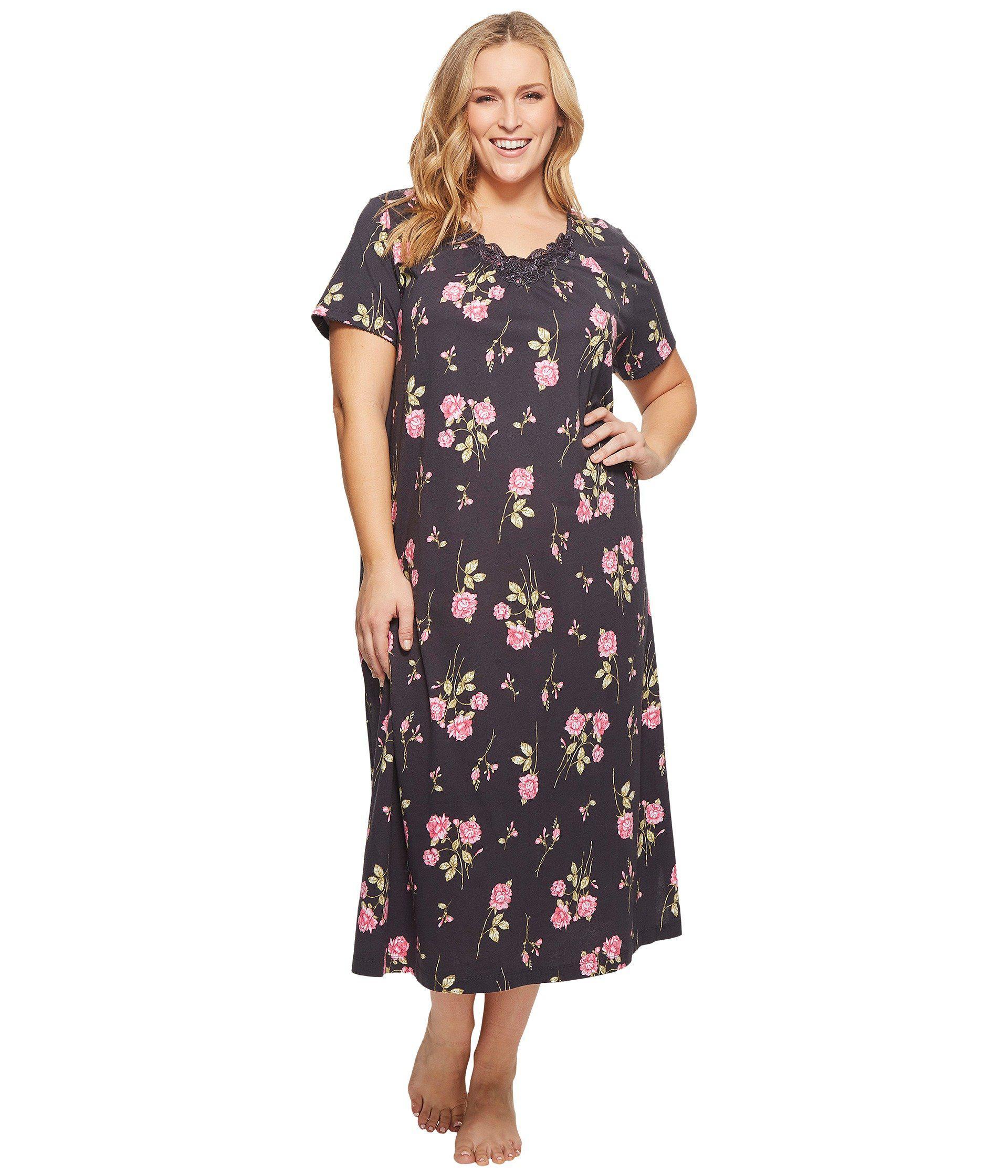 Lyst - Carole Hochman Plus Size Soft Jersey Short Sleeve Gown