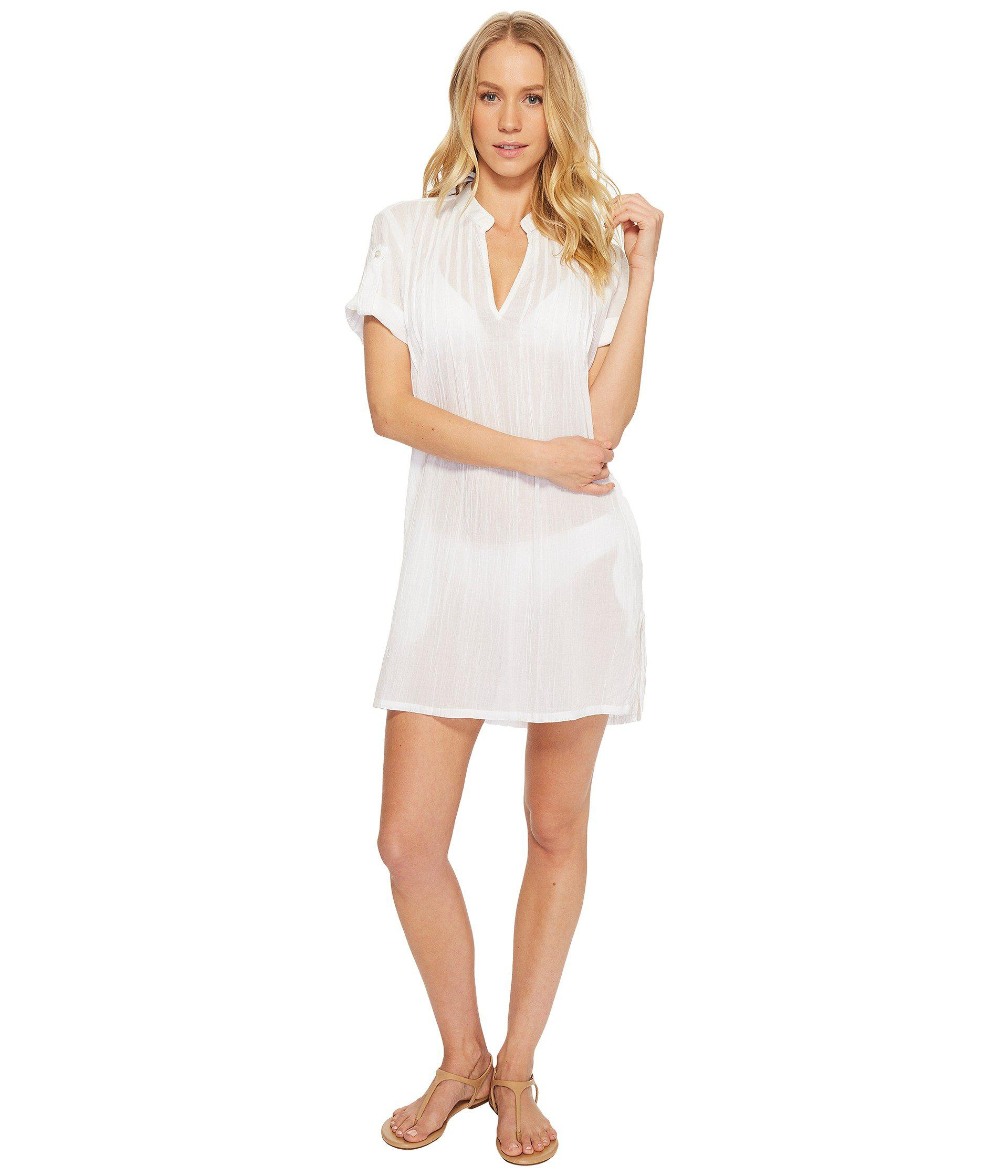 d5f58bca9f4 Lyst - Lauren by Ralph Lauren Crushed Cotton Darcy Tunic Cover-up ...