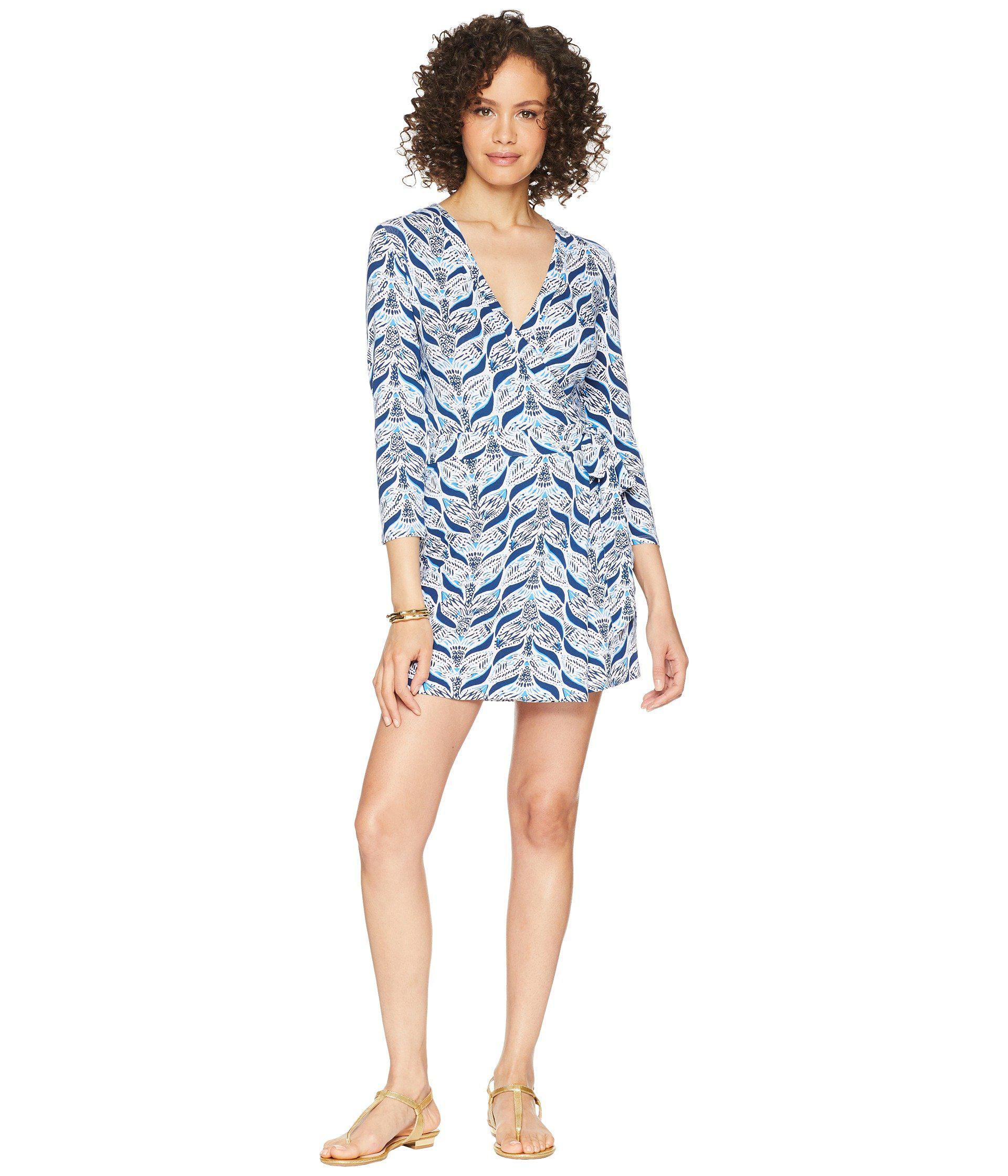 01c3806be982 Lyst - Lilly Pulitzer Karlie Wrap Romper (bright Navy Party Like A ...