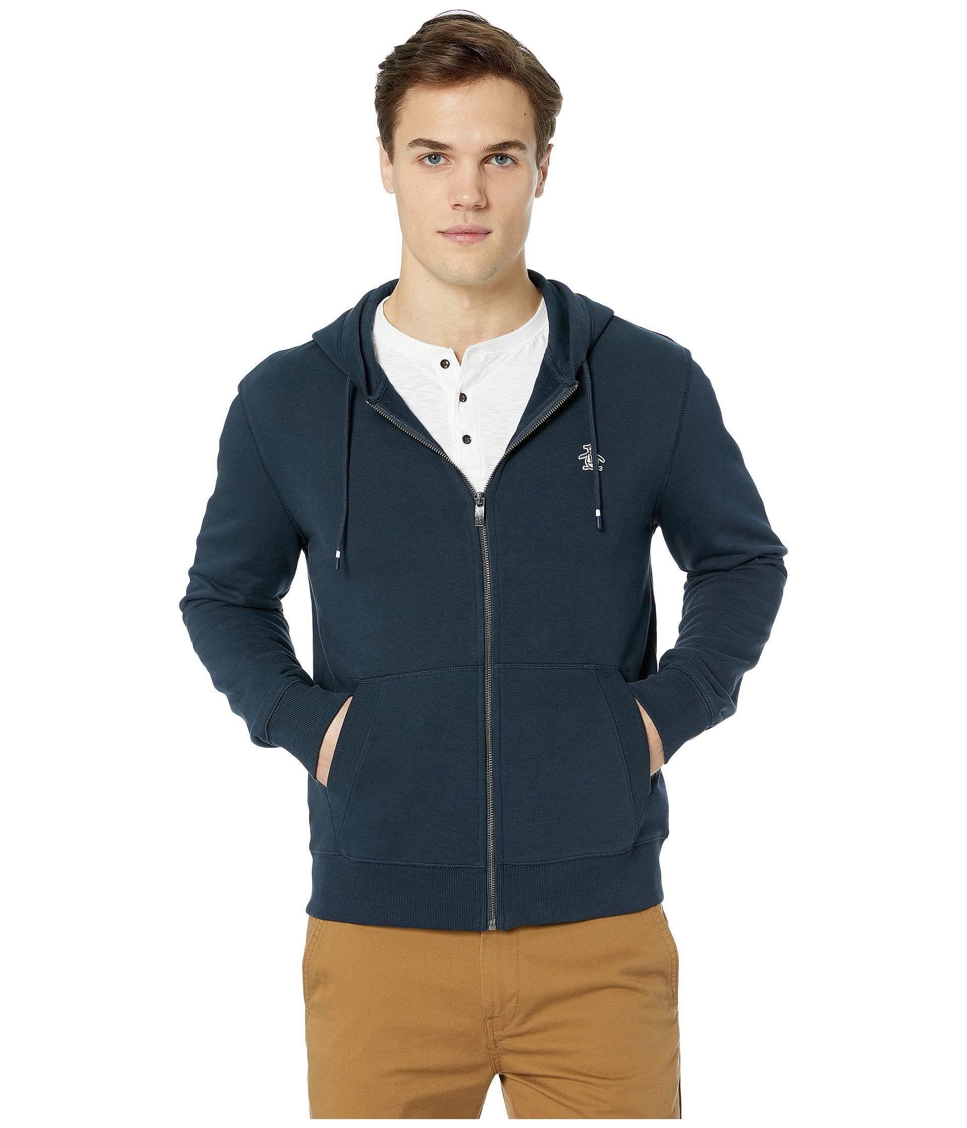 50642f4eaad Original Penguin. Blue Long Sleeve Fleece Full Zip (dark Sapphire) Men s  Sweatshirt