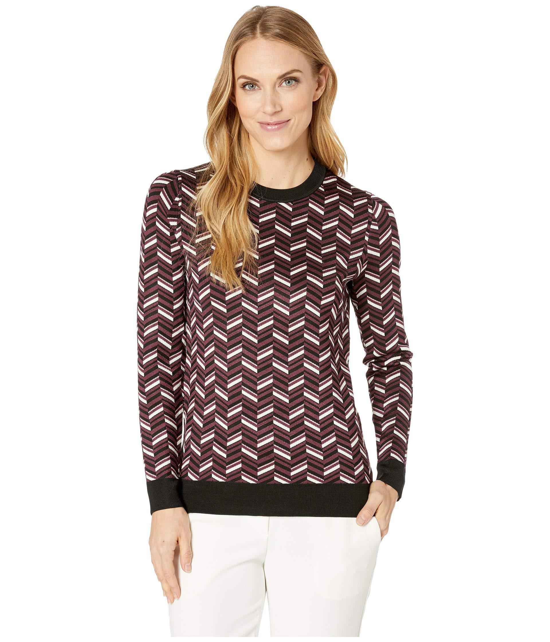 cb877bd07f36 MICHAEL Michael Kors. Chevron Jacquard Long Sleeve Sweater (cordovan) Women s  Sweater