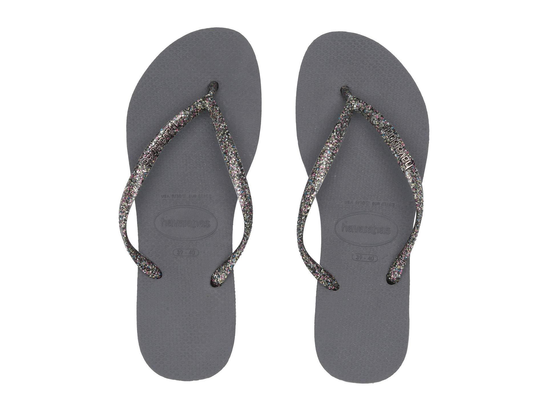 1ab1aa1fa Havaianas - Gray Slim Logo Metallic Flip Flops (white silver silver) Women s.  View fullscreen