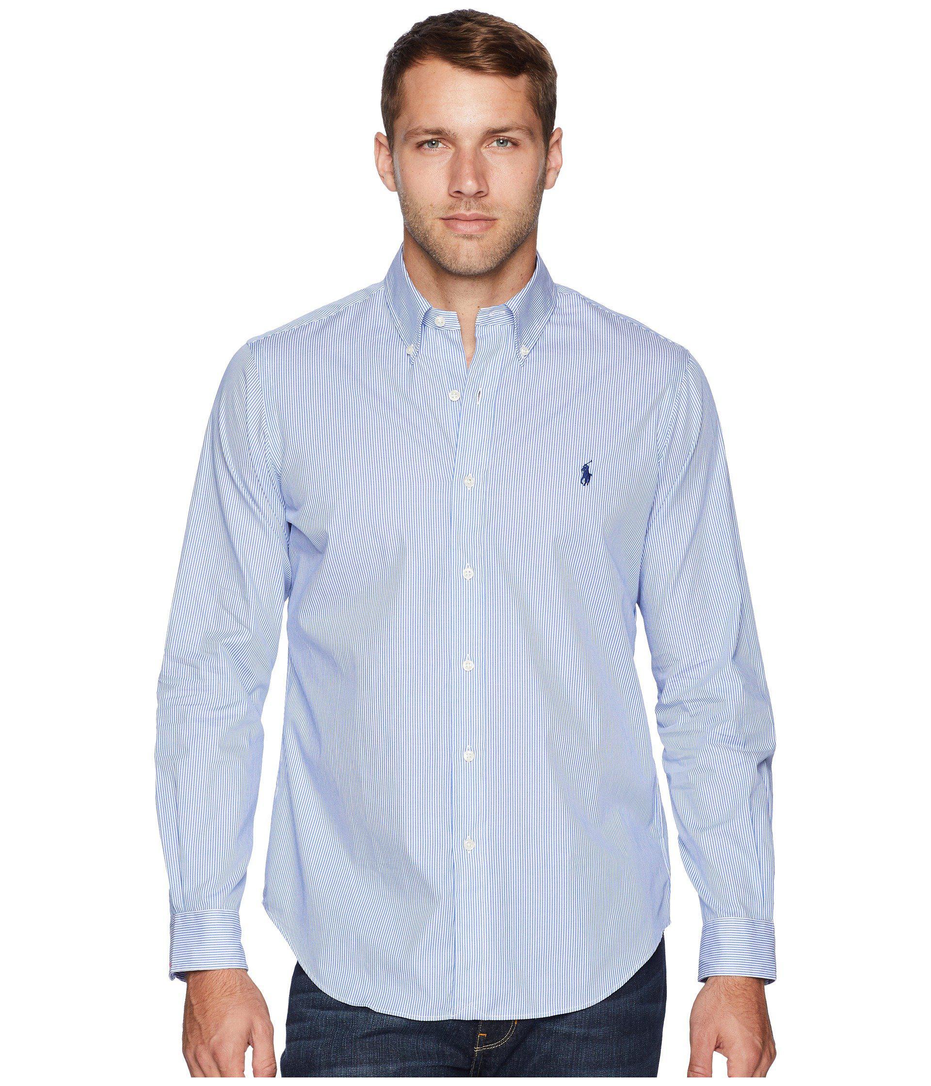 6155fb245960 Polo Ralph Lauren. Poplin Sport Shirt (blue white Hairline Stripe) Men s  Long Sleeve ...