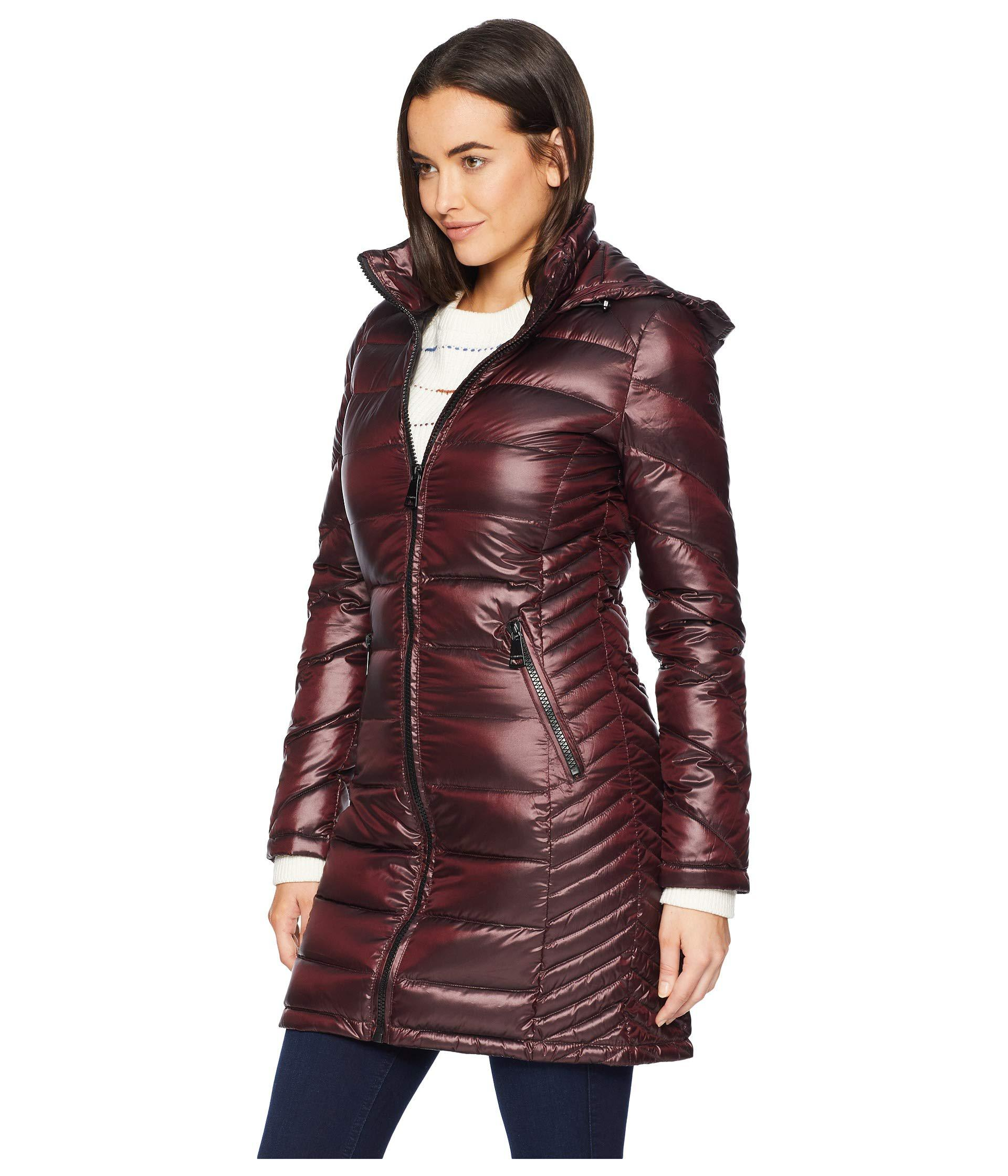 aa3324821c3 Lyst - Calvin Klein Walker Length Packable With Chunky Zipper Hardware (jet  Black) Women s Coat in Red