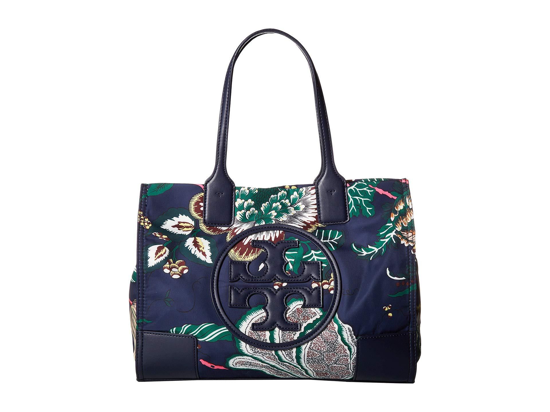 056002d99dfc Lyst - Tory Burch Ella Printed Mini Tote (navy Happy Times) Tote ...