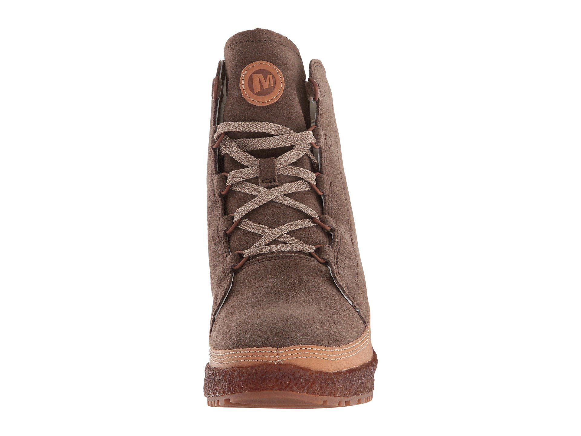 75c655a1fec Lyst - Merrell Tremblant Wedge Lace ( Stone) Women s Lace-up Boots ...