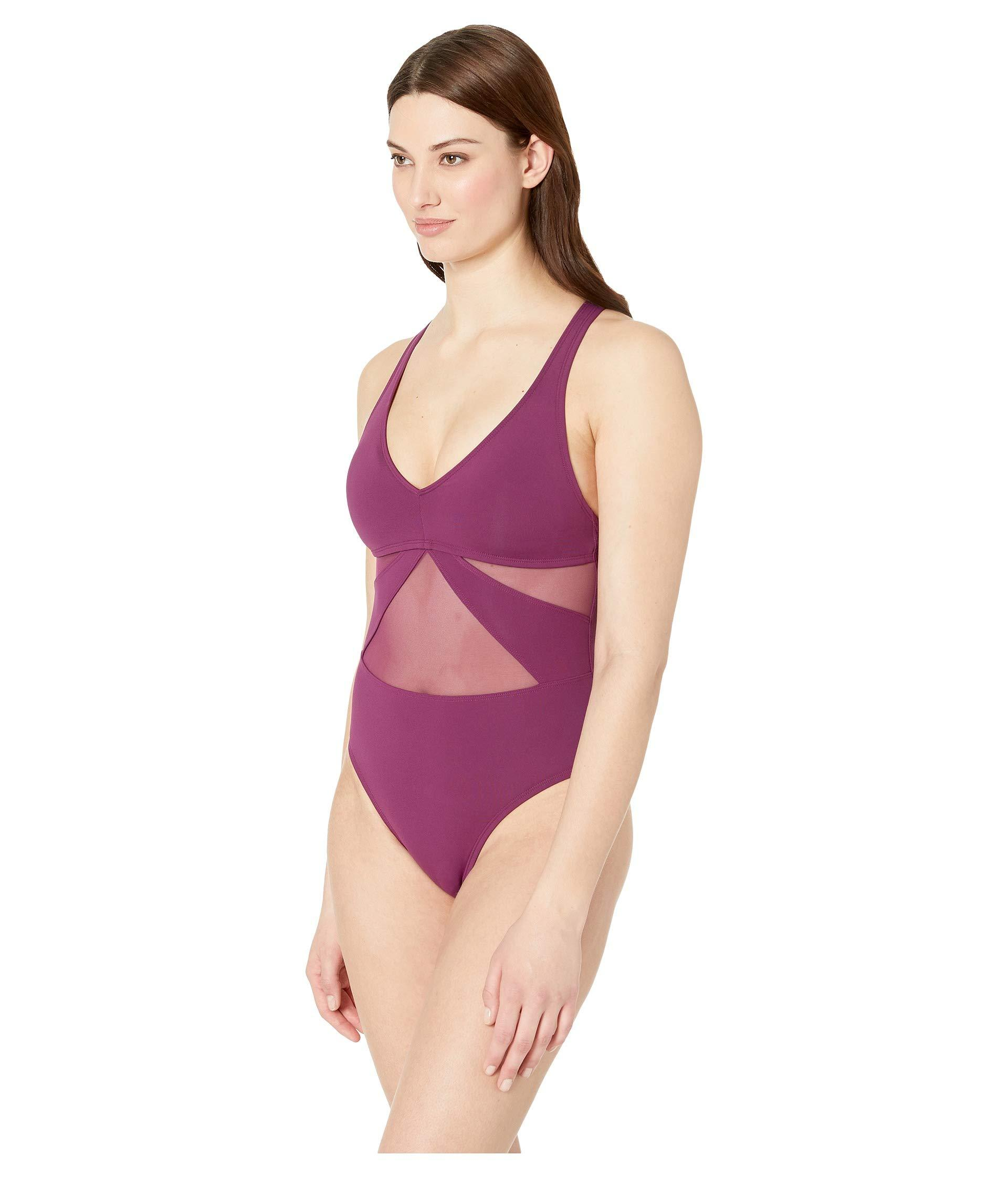 0ccecae9a9 Lyst - Bleu Rod Beattie V-neck Mesh Mio W/ Strappy Cross-back (aruba Bleu) Women's  Swimsuits One Piece in Purple