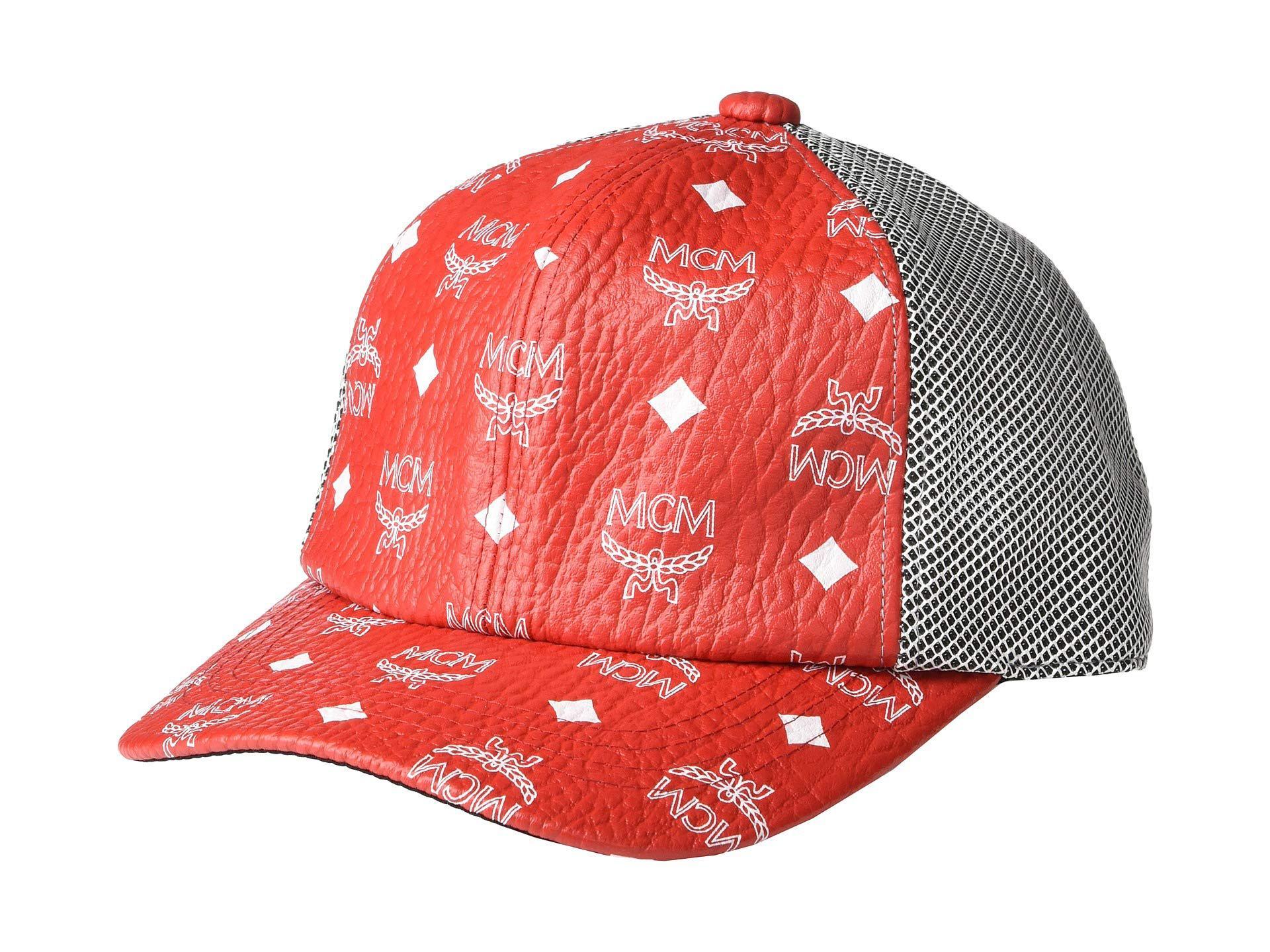 2019c0d0309da MCM Classic Mesh Cap In Visetos (white Logo viva Red) Caps in White ...