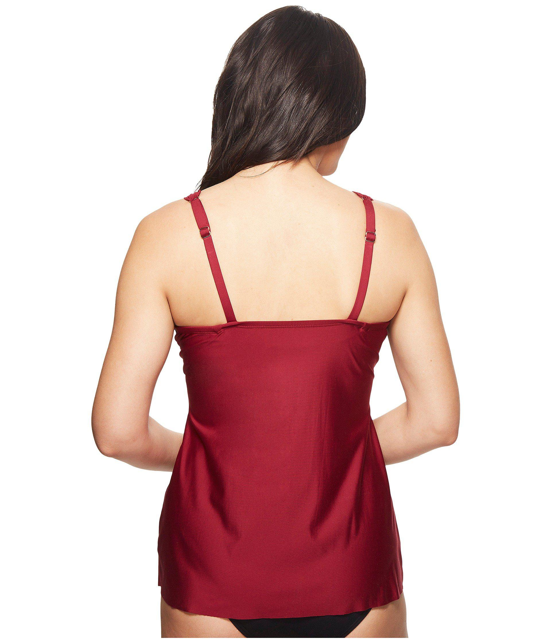 3bd2f9a2b47 Miraclesuit Cat Walk Empire Shirred Tankini Top in Red - Lyst