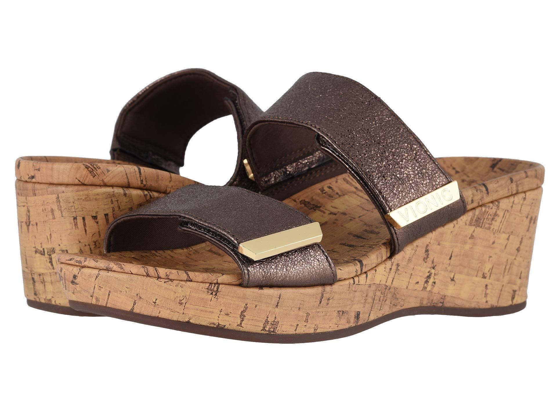 4e4cd8bd73 Lyst - Vionic Pepper Metallic (bronze) Women's Wedge Shoes in Metallic