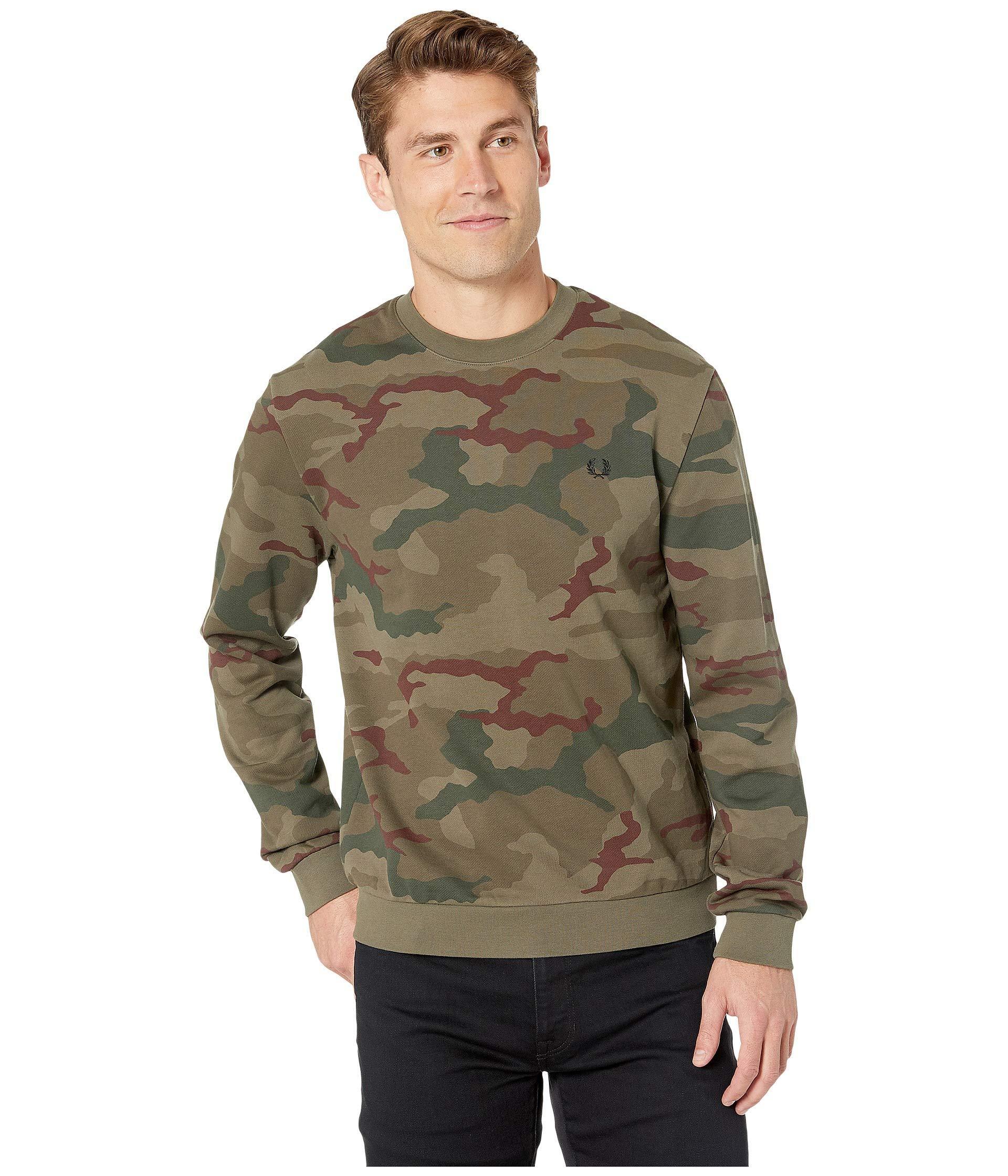 e885bd195 Fred Perry - Green Camouflage Sweatshirt (iris Tundra Camo) Men s Clothing  for Men -. View fullscreen