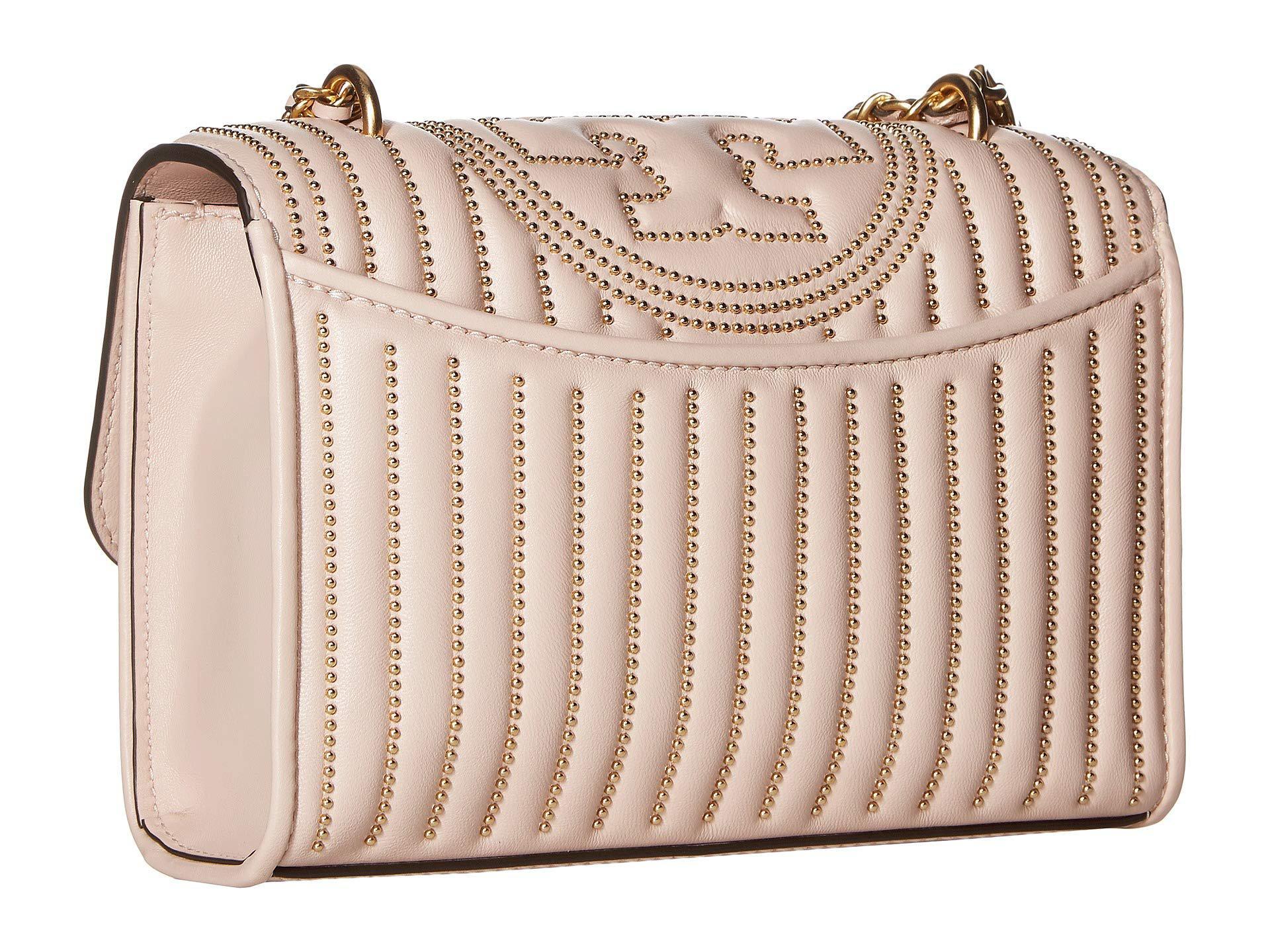 1571332090f7 Tory Burch - Pink Fleming Mini Stud Small Convertible Shoulder Bag (black silver).  View fullscreen