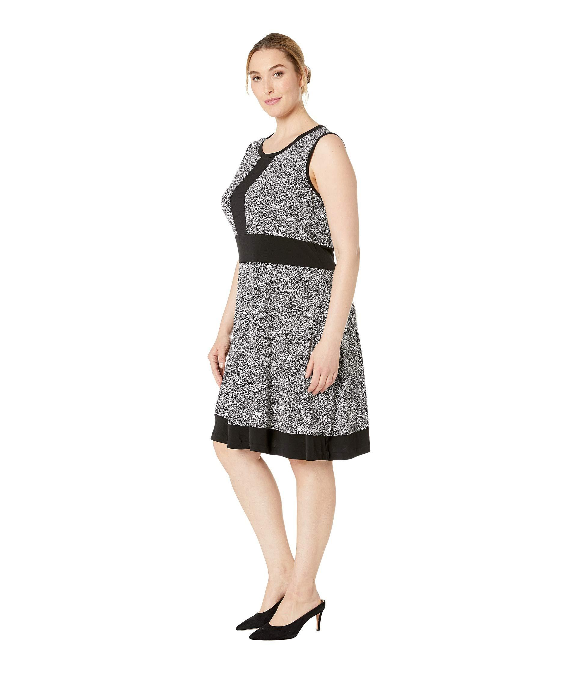 f289a6c7d09 Lyst - MICHAEL Michael Kors Plus Size Spring Sleeveless Border Dress (black  white) Women s Dress in Black