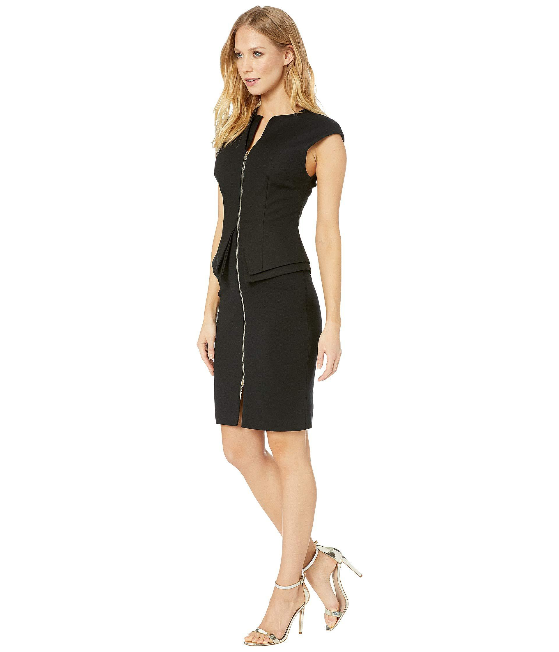 7c9a0de8830590 Lyst - Ted Baker Structured Zip Peplum Dress (black) Women s Clothing in  Black